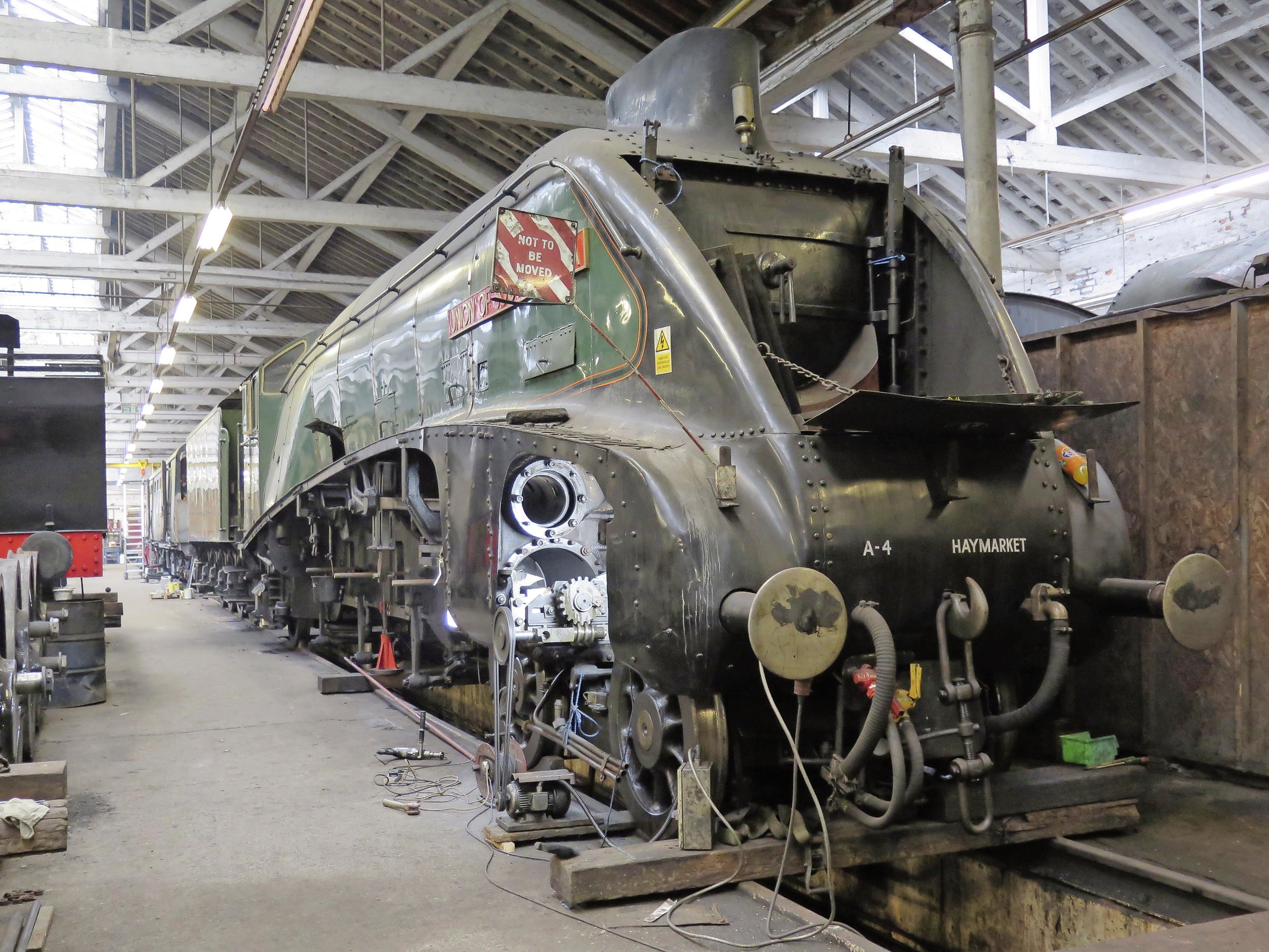 As its overhaul reaches completion, 'A4' No. 60009  Union of South Africa  has its cylinders re-bored at Riley & Son (E) Ltd. in Lancashire, ahead of its visit to the Nene Valley Railway in September. JOHN SAGAR