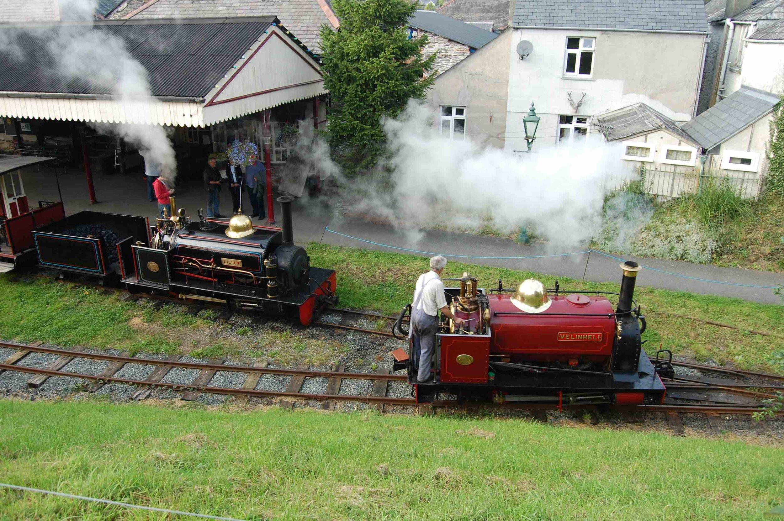 Launceston Steam Railway-based 'Quarry Hunslet' 0-4-0ST  Velinheli  runs round fellow resident  Lilian  at Launceston station on September 23 2011. STEVE RYSZKA