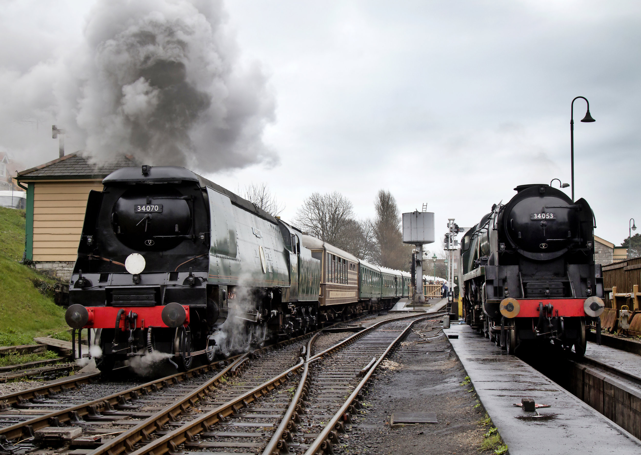 Two of the Swanage Railway's five-strong gala line-up: 'Battle of Britain' Nos. 34053  Sir Keith Park  and 34070  Manston . JACK HAYNES