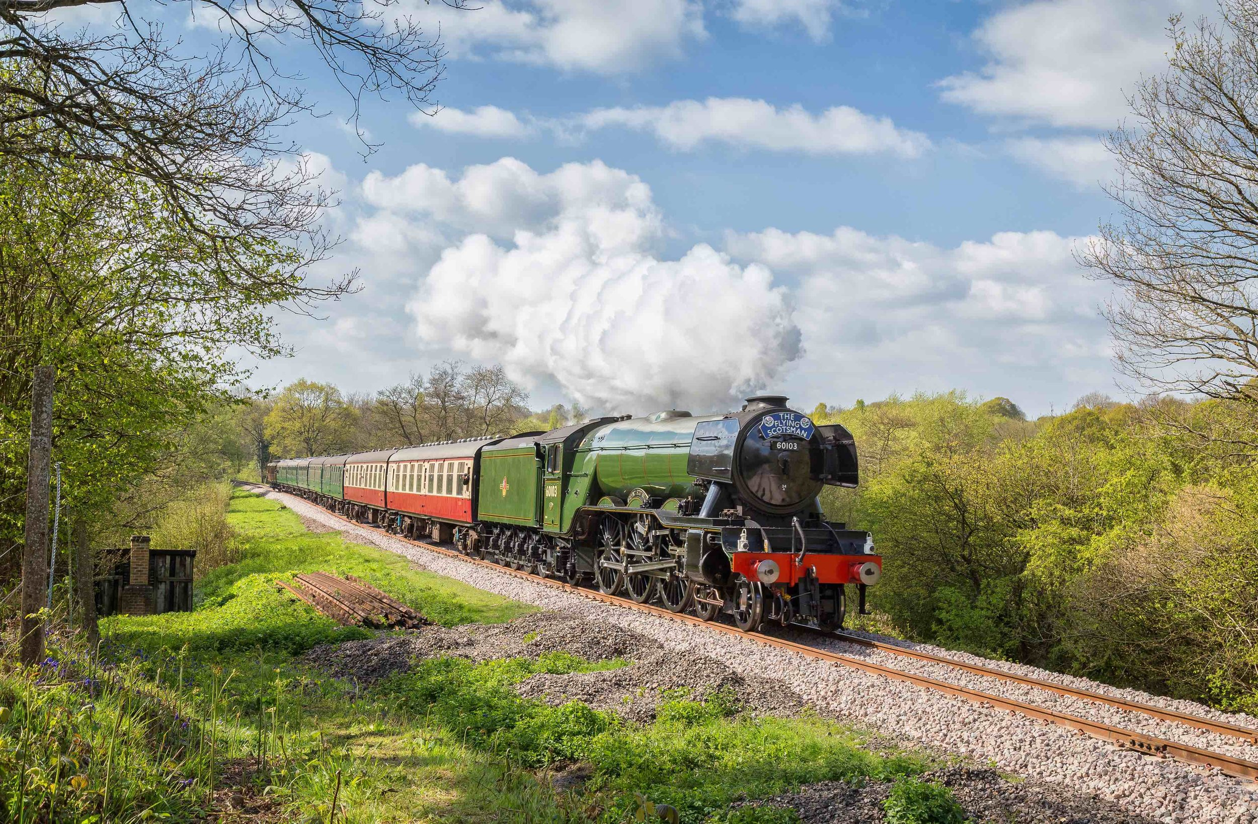 During its most recent visit to a preserved railway, 'A3' No. 60103  Flying Scotsman  approaches the top of Holiwell Bank on its last day of operation at the Bluebell Railway on April 19. JONATHAN HUGHES