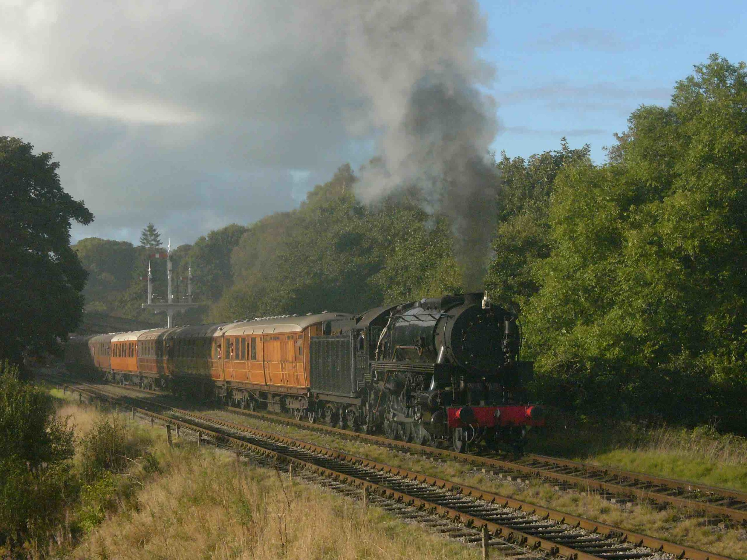 Out of action: Churnet Valley Railway-based 'S160' No. 6046 has become the third visiting locomotive to drop out of the 'GlosWarks' 'Cotswold Festival of Steam' gala. It is pictured leaving Goathland at the North Yorkshire Moors Railway's autumn gala on October 2 2016. TOBY JENNINGS/SR