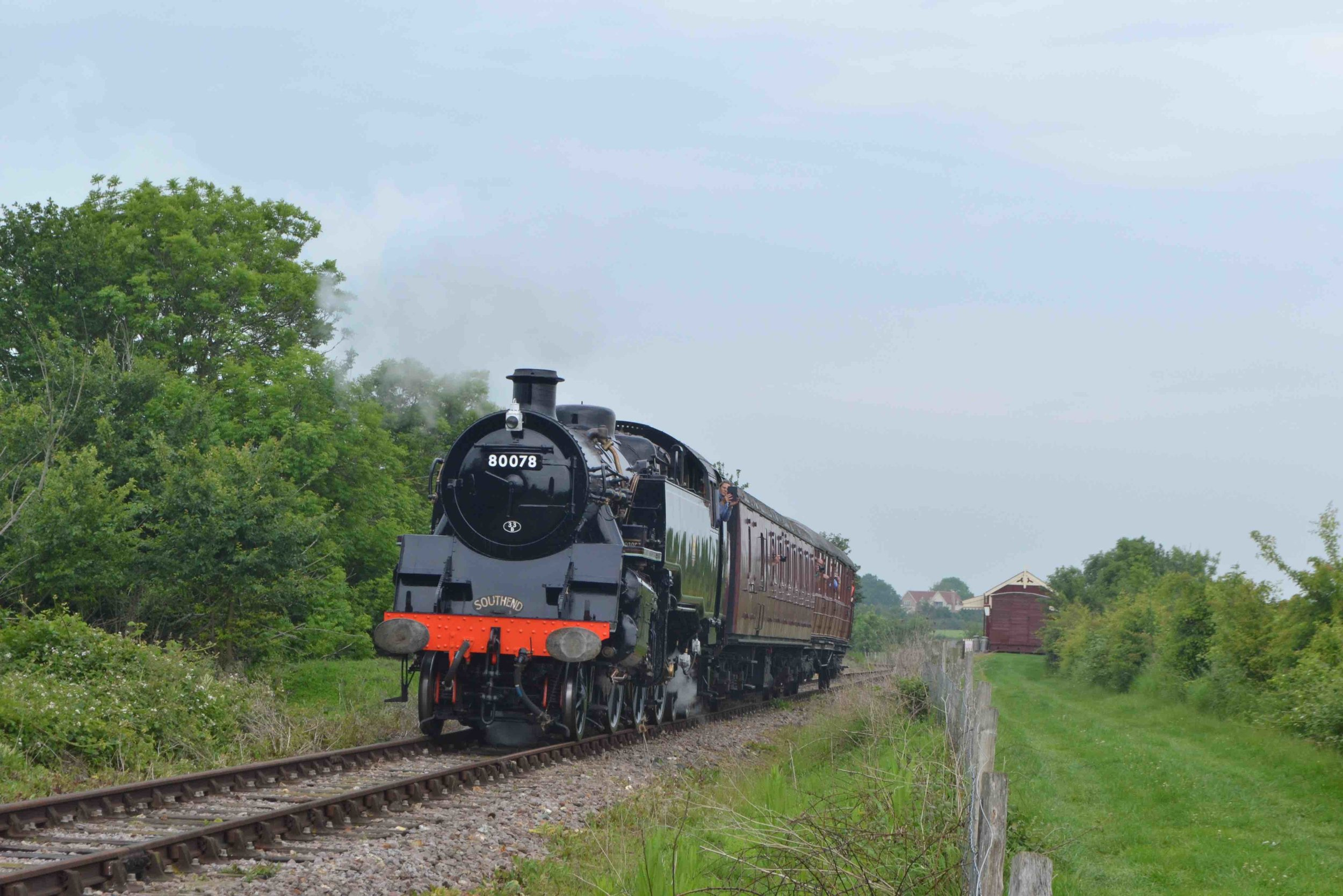 Fresh from overhaul, BR Standard '4MT' No. 80078 departs the Mangapps Railway Museum's Old Heath station on May 29. TOBY JENNINGS