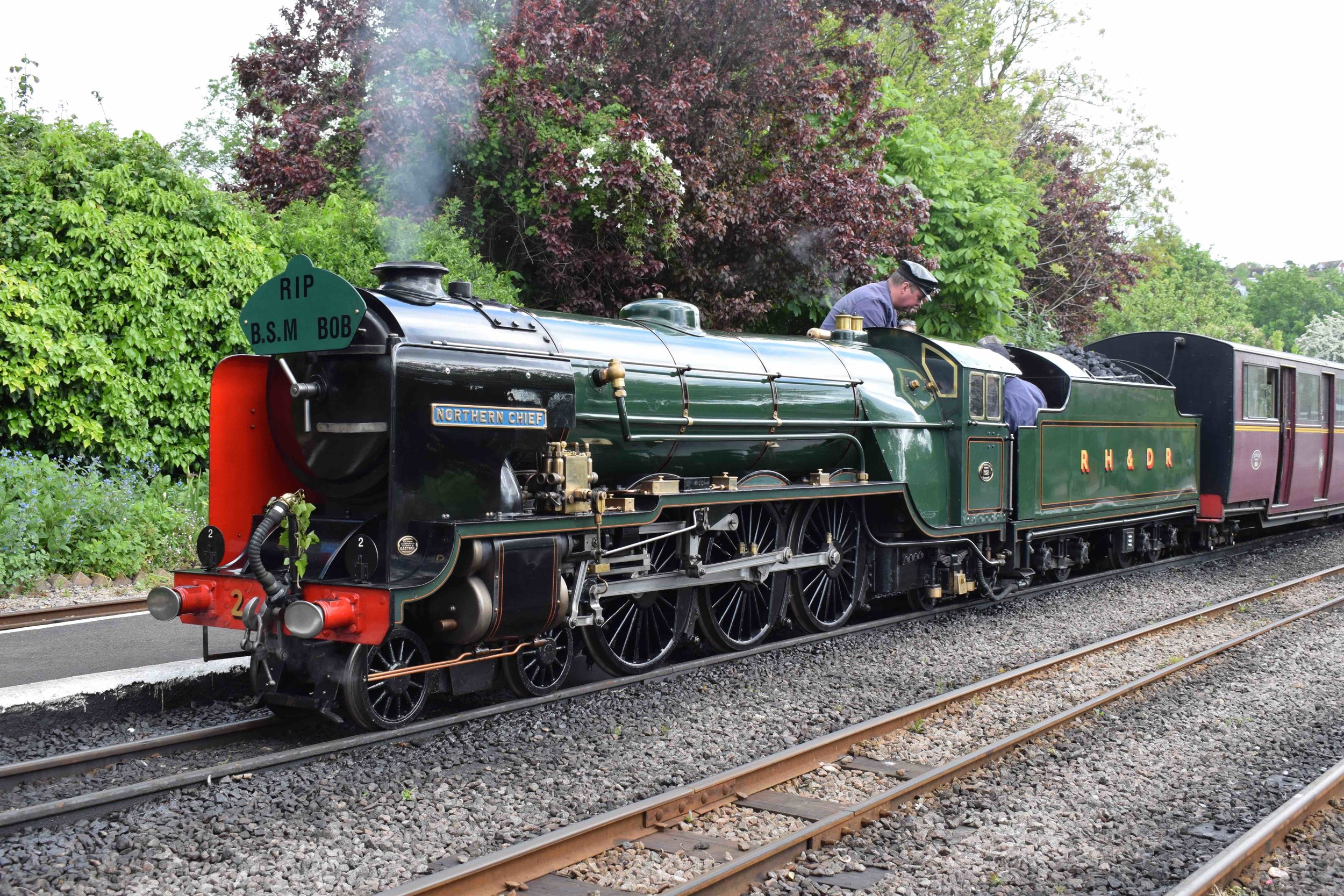 The second locomotive built for the RHDR, 4-6-2 No. 2  Northern Chief , prepares to depart Hythe on the second day of the railway's recent 'Steam & Diesel Gala' on May 13/14. THOMAS BRIGHT/SR