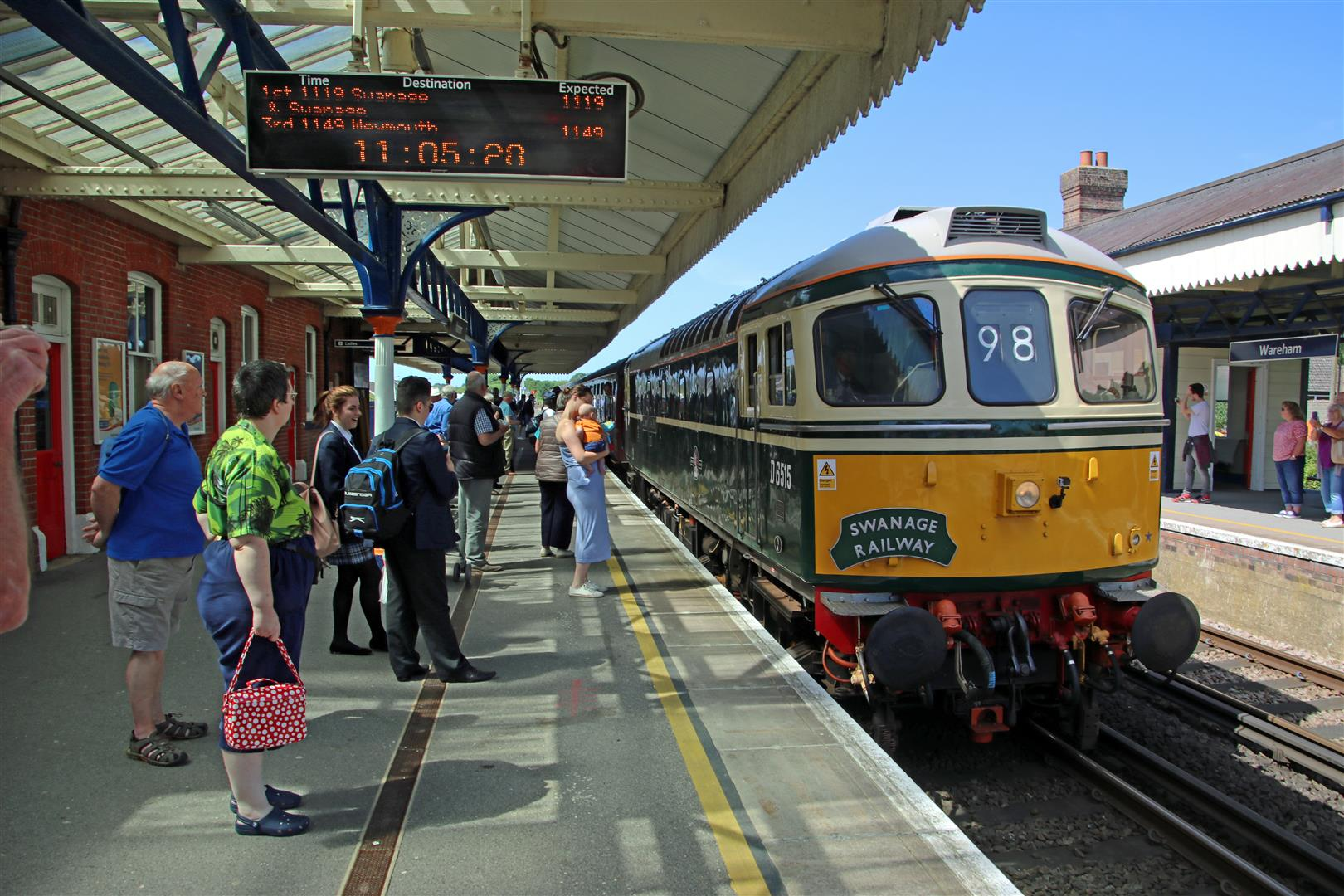 The first timetabled train from Swanage for 45 years, hauled by the railway's own Class 33 'Crompton' No. D6515, pulls into Wareham on June 13. ANDREW P. M. WRIGHT