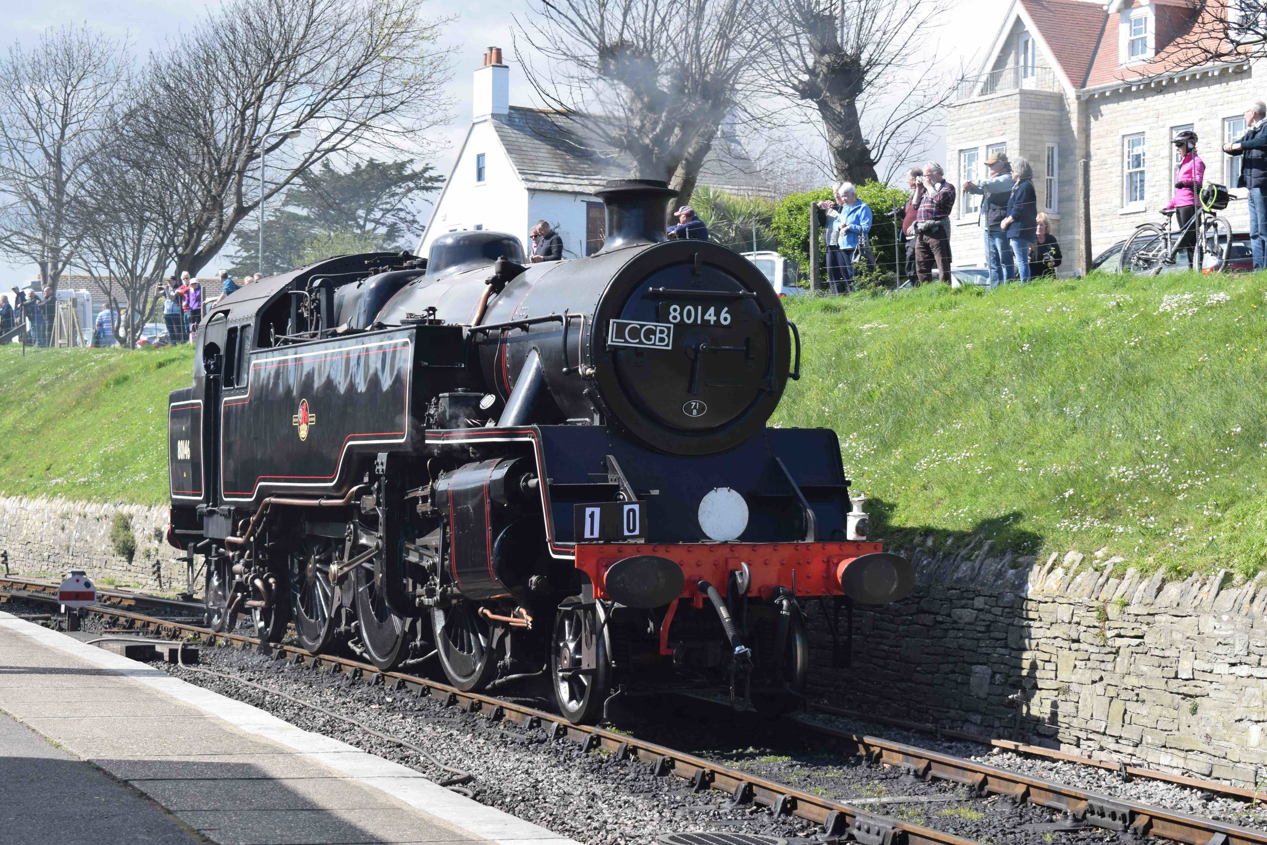 BR Standard '4MT' No 80104, in disguise as classmate and '67 survivor No. 80146, rests at Swanage on the final day of the railway's 'Strictly Bulleid' gala on April 2. THOMAS BRIGHT/SR