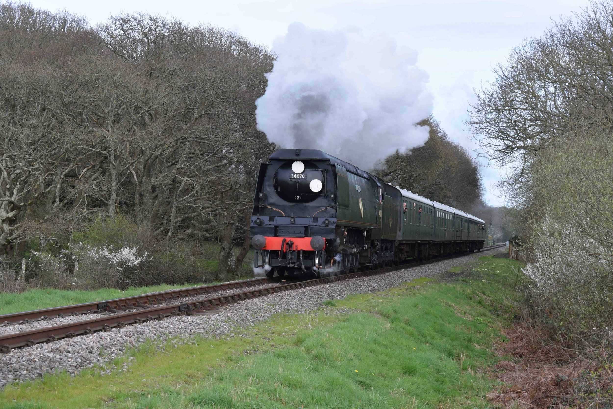 Out of action following a low-speed collision with Swanage stablemate BR '4MT' No. 80104, 'Battle of Britain' No. 34070  Manston  is pictured on March 31 during the railway's 'Strictly Bulleid' gala. THOMAS BRIGHT/SR