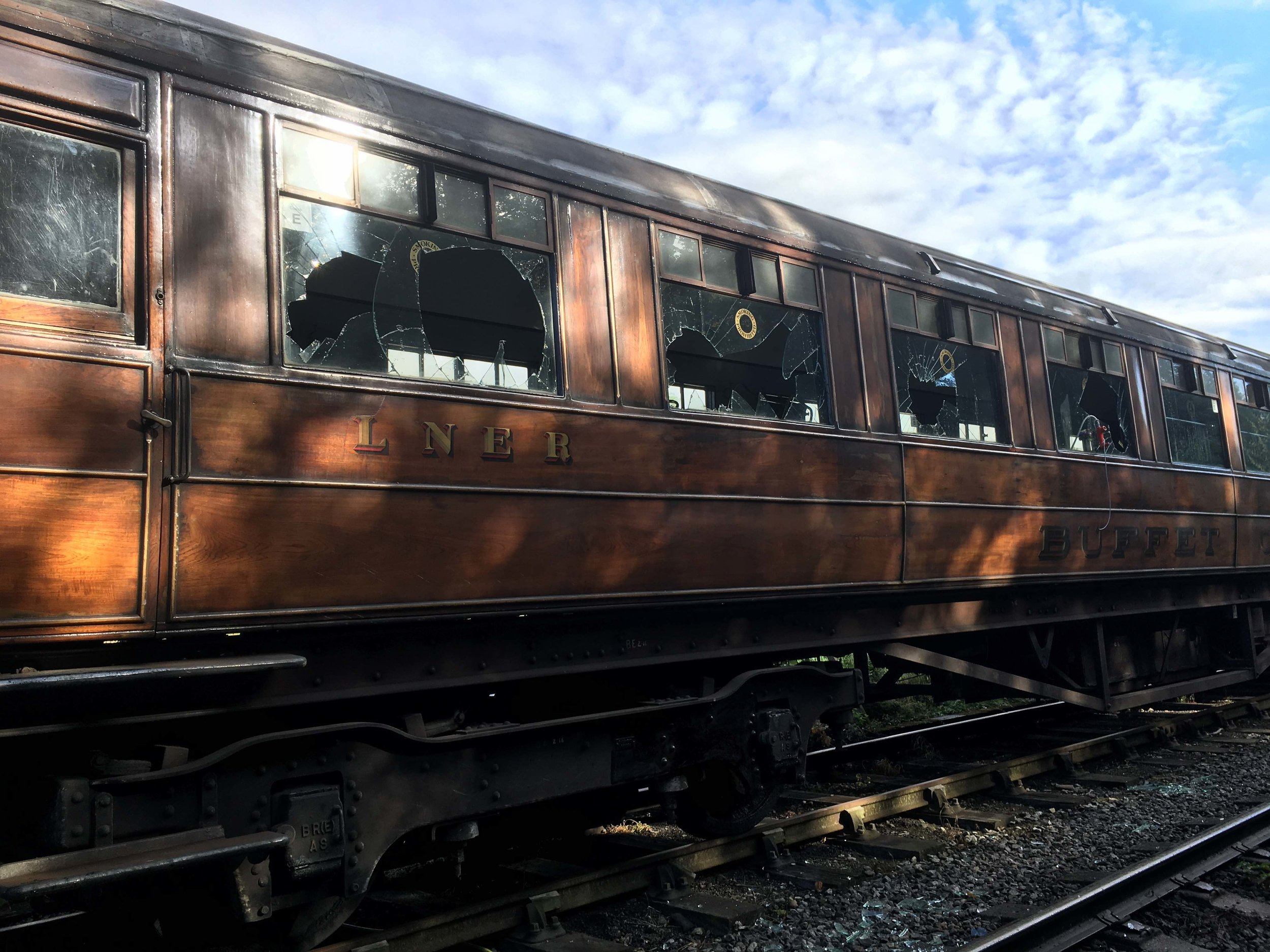 Windows, amongst other items, on the NYMR's LNER eight-coach teak rake were smashed by vandals on July 22. NYMR