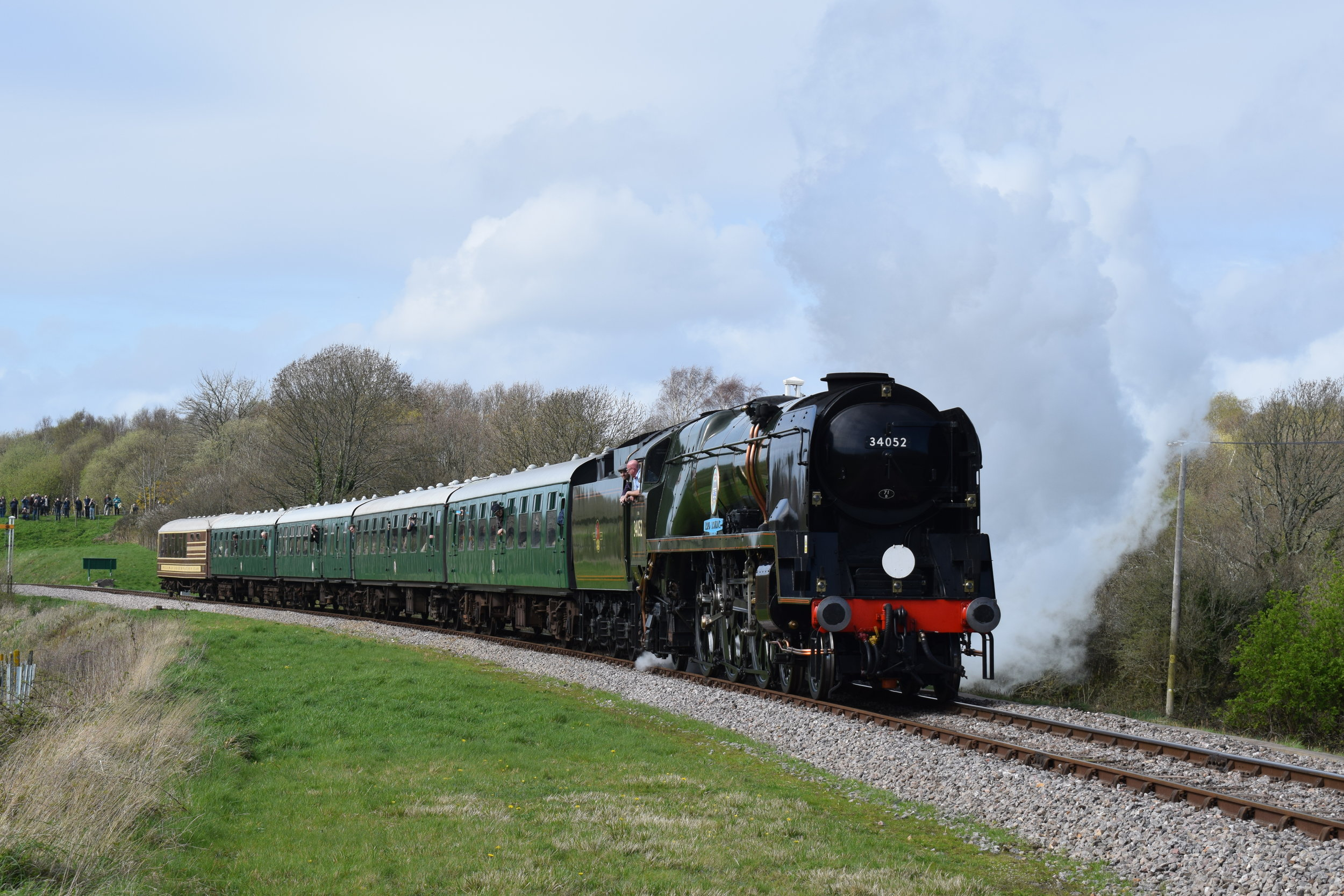 Locomotive Services Ltd., which owns 'West Country' No. 34046  Braunton  (currently masquerading as 'BB' No. 34052  Lord Dowding ), became a Train Operating Company on August 4. The Bulleid 'Pacific' is pictured leaving Norden on March 31 at the Swanage Railway's 'Strictly Bulleid' gala. THOMAS BRIGHT/SR