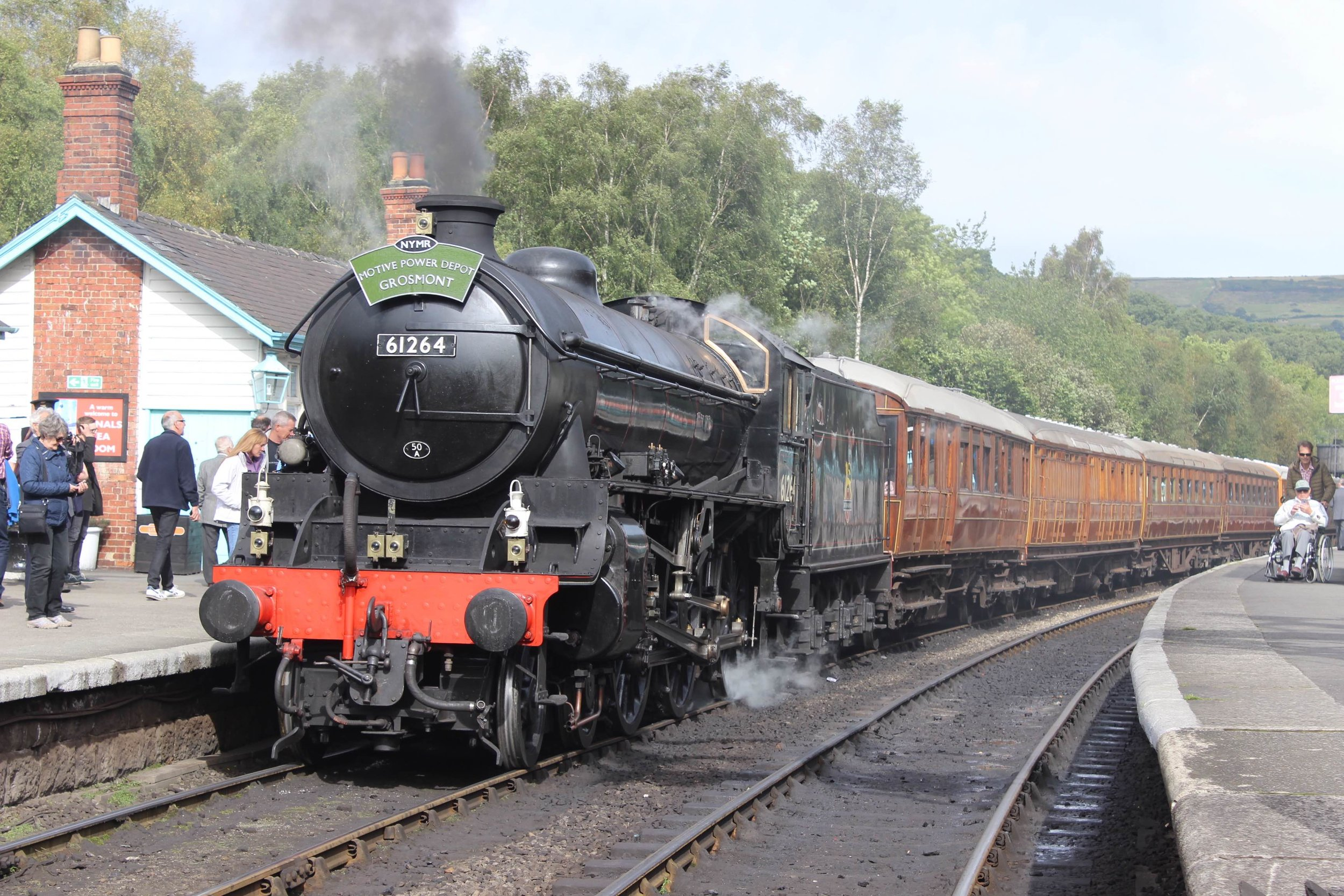 NYMR-based 'B1' No. 61264 prepares to leave Grosmont with the line's much-loved teak set in tow on September 24 2016, the day Thompson Third Corridor No. 1623 was launched into traffic. THOMAS BRIGHT/SR