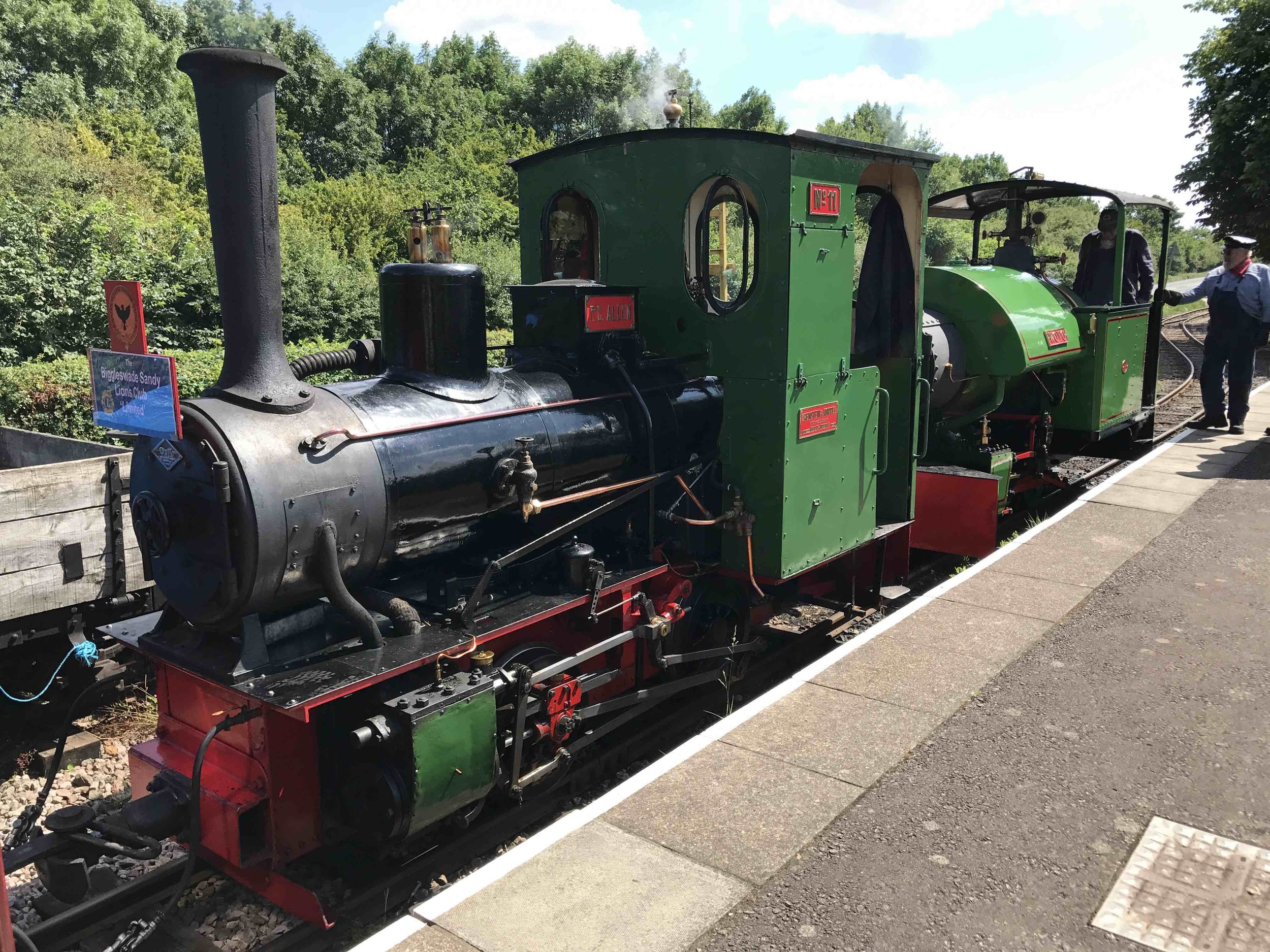 Two engines that will be in action at the Leighton Buzzard Railway's 50th anniversary gala – LBR resident O&K 0-4-0WT  P. C. Allen  and visiting Bagnall 0-4-0ST  Woto . STEVE DOUGHTY