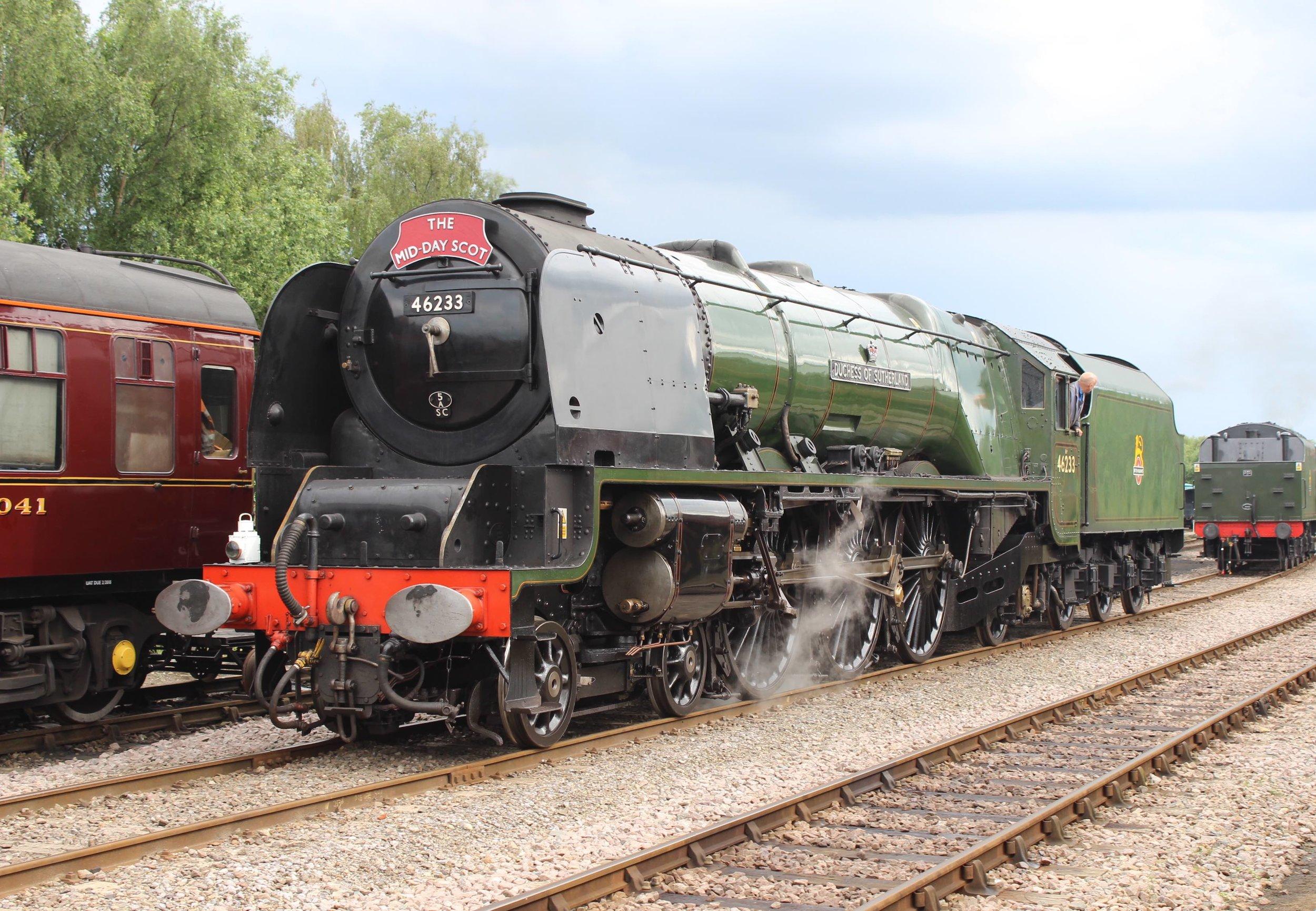 'Princess Coronation' No. 46233  Duchess of Sutherland  backs down onto No. 46100  Royal Scot  at Dereham on the Mid-Norfolk Railway on June 25 2016. THOMAS BRIGHT/SR