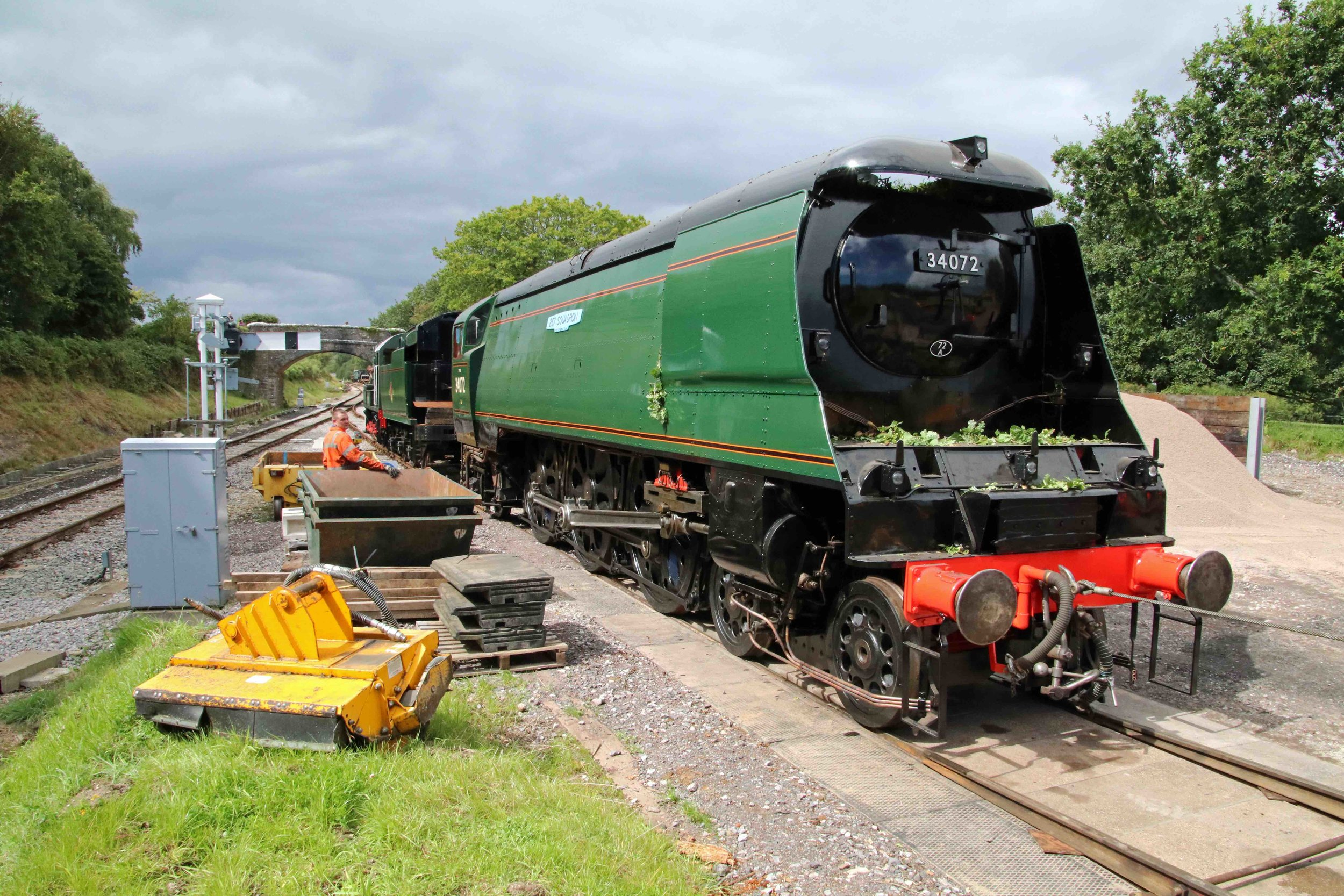 Fresh from overhaul, 'Battle of Britain' No. 34072  257 Squadron  s united with its new-build tender at Norden on the Swanage Railway on August 21. ANDREW P. M. WRIGHT