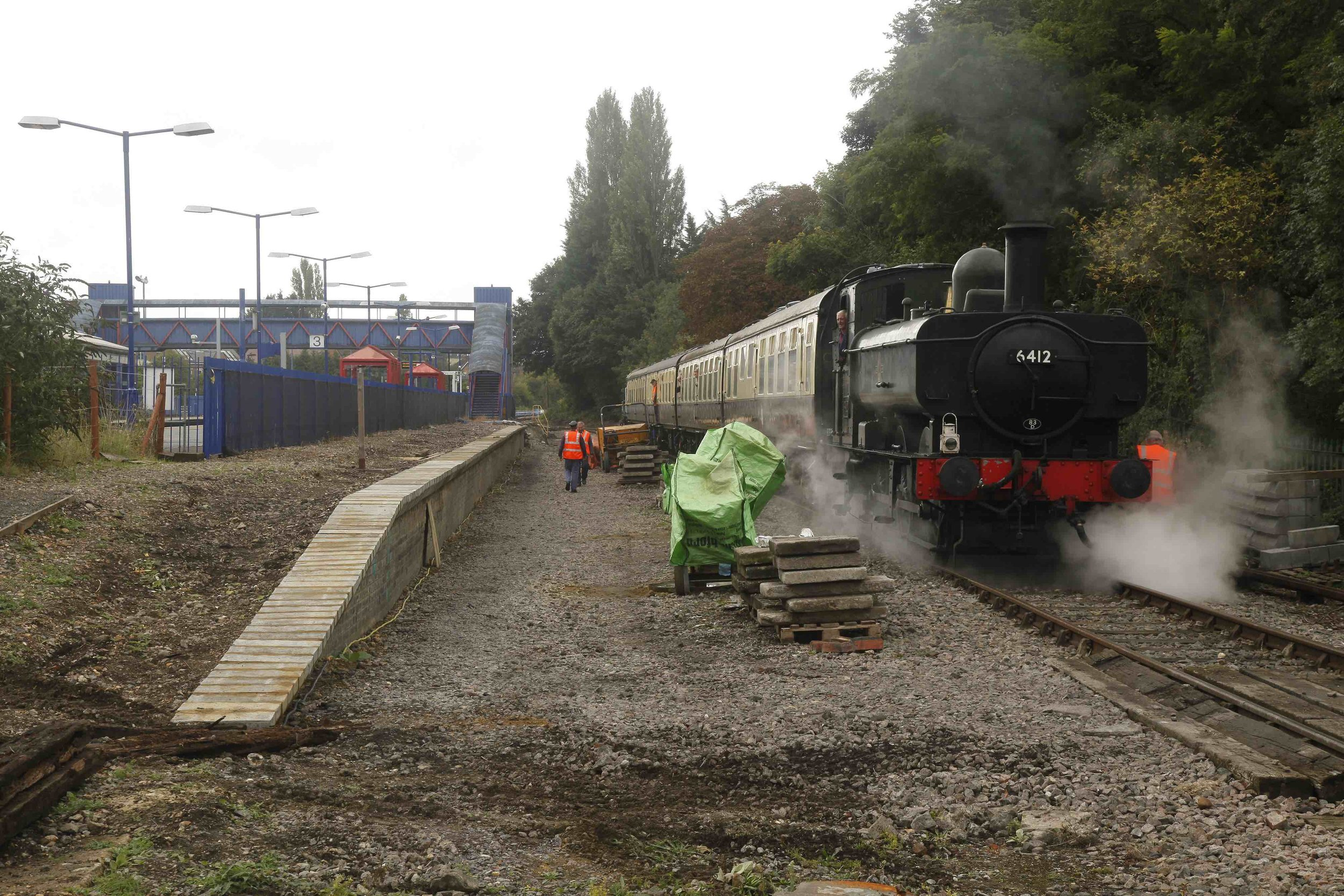 On September 17, visiting '64XX' 0‑6‑0PT No.6412 stands on the future run-round loop at Princes Risborough station, as the new Platform 4 takes shape. PHIL MARSH