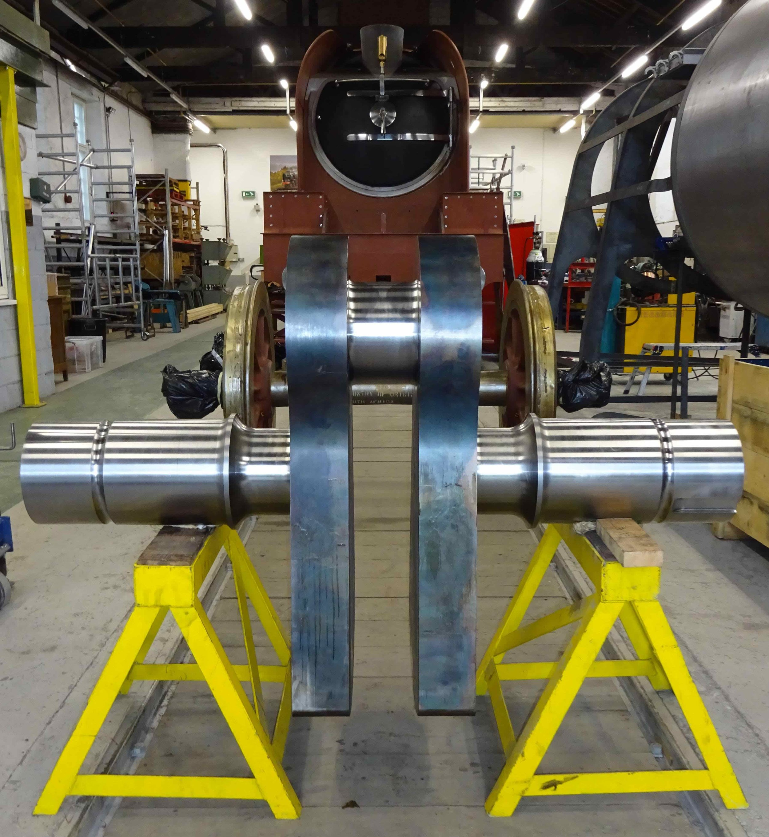 Prince of Wales ' newly delivered crank axle, which should be united with its wheels and tyres in March next year. MANDY GRANT