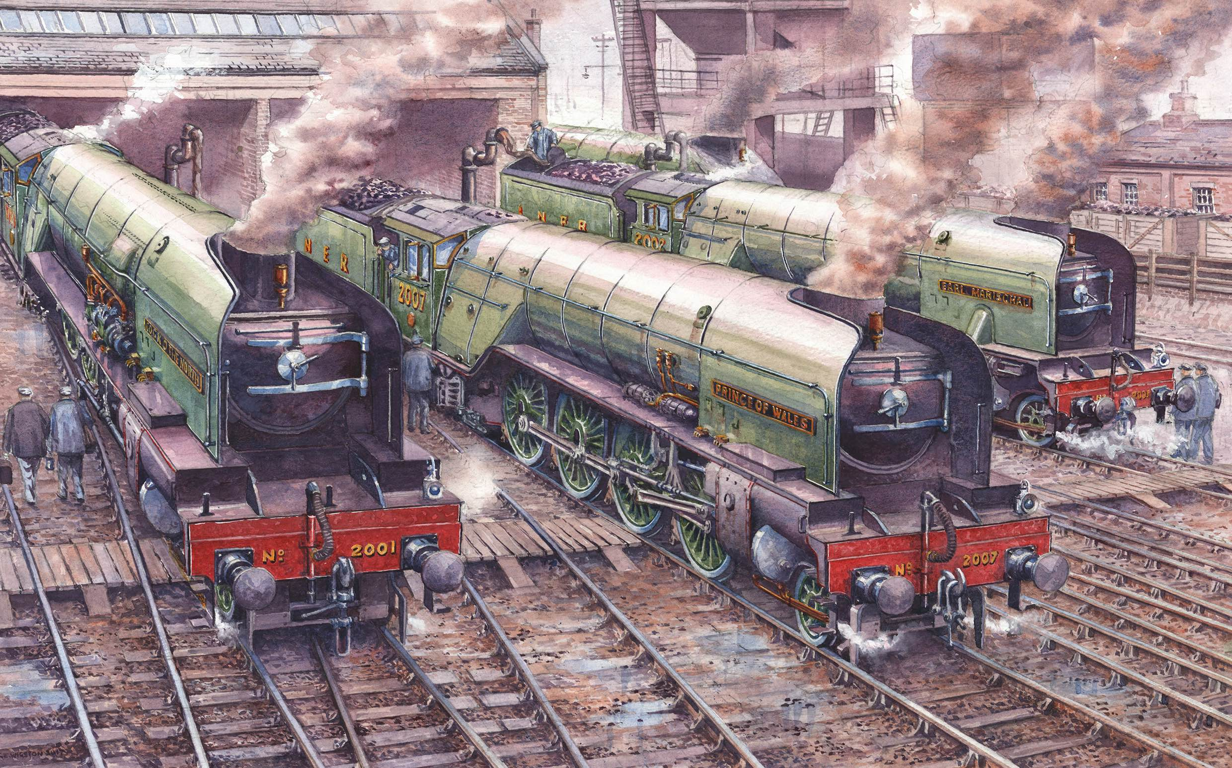John Wigston donated the original artwork of his new painting, depicting original 'P2s' Nos. 2001  Cock O' The North  and 2002  Earl Marischal  alongside new-build No. 2007  Prince of Wales , to the A1SLT on October 17 to raise funds for the 'Mikado'. A1SLT/JOHN WIGSTON