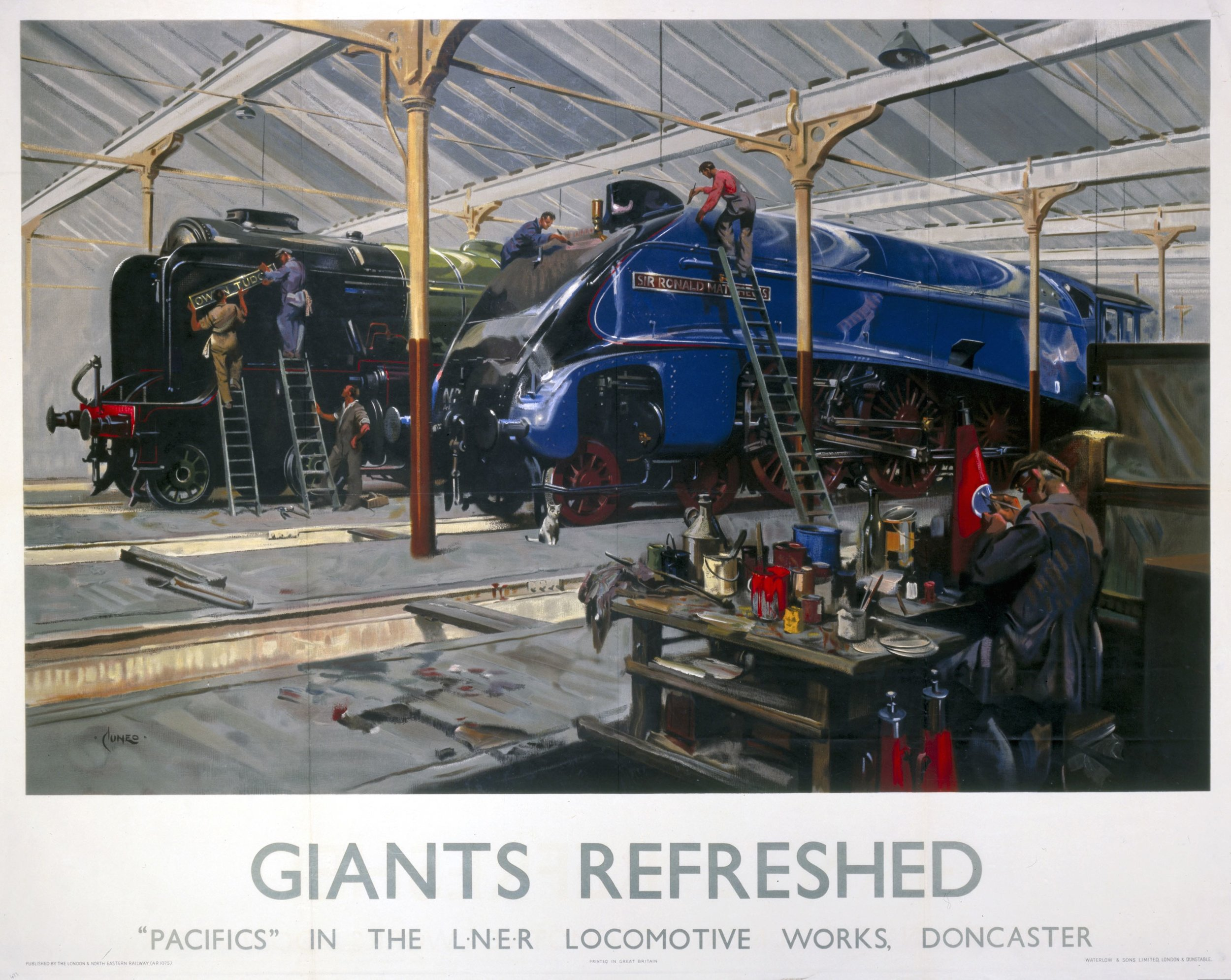 One of Terence Cuneo's most famous paintings –  Giants Refreshed  – depicting A4' No. 1  Sir Ronald Matthews  receiving the finishing touches to its garter blue livery alongside 'A2/3' No. 520  Owen Tudor . NRM/ESTATE OF TERENCE CUNEO/BRIDGEMAN IMAGES