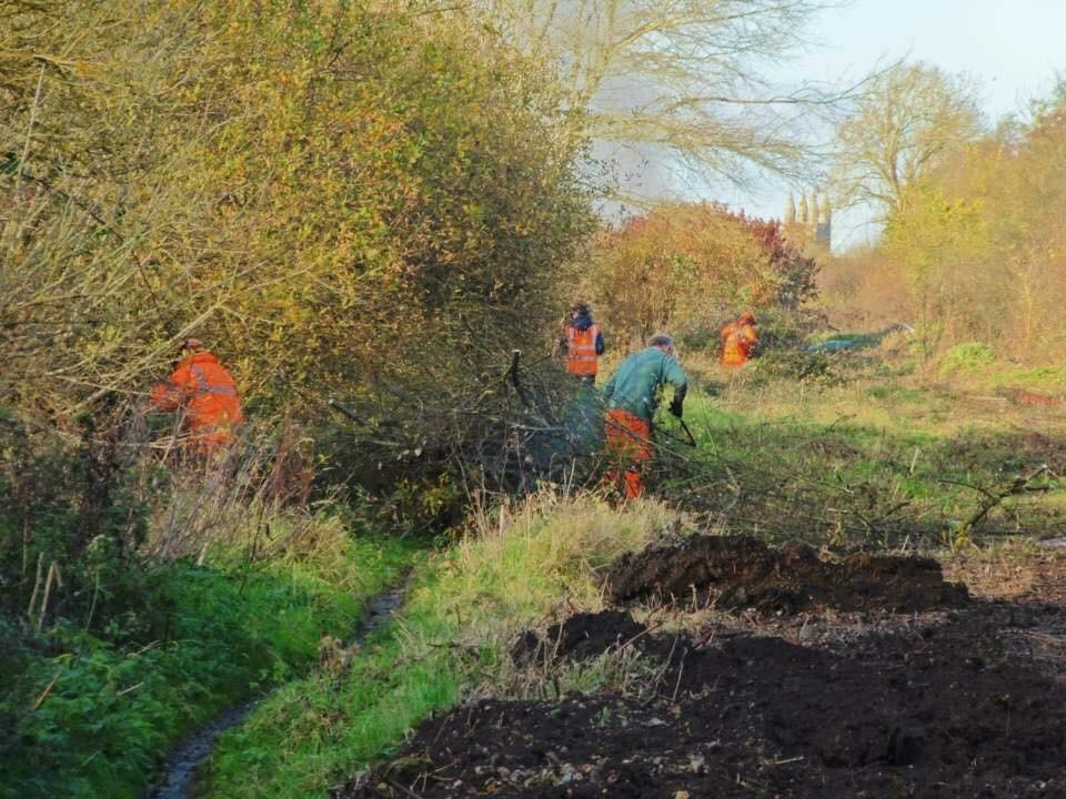 Swindon & Cricklade Railway volunteers clearing the trackbed of the railway's northern extension. Visible in the background is the tower of St Sampson's Church, marking their goal of Cricklade. DAVE HERBERT