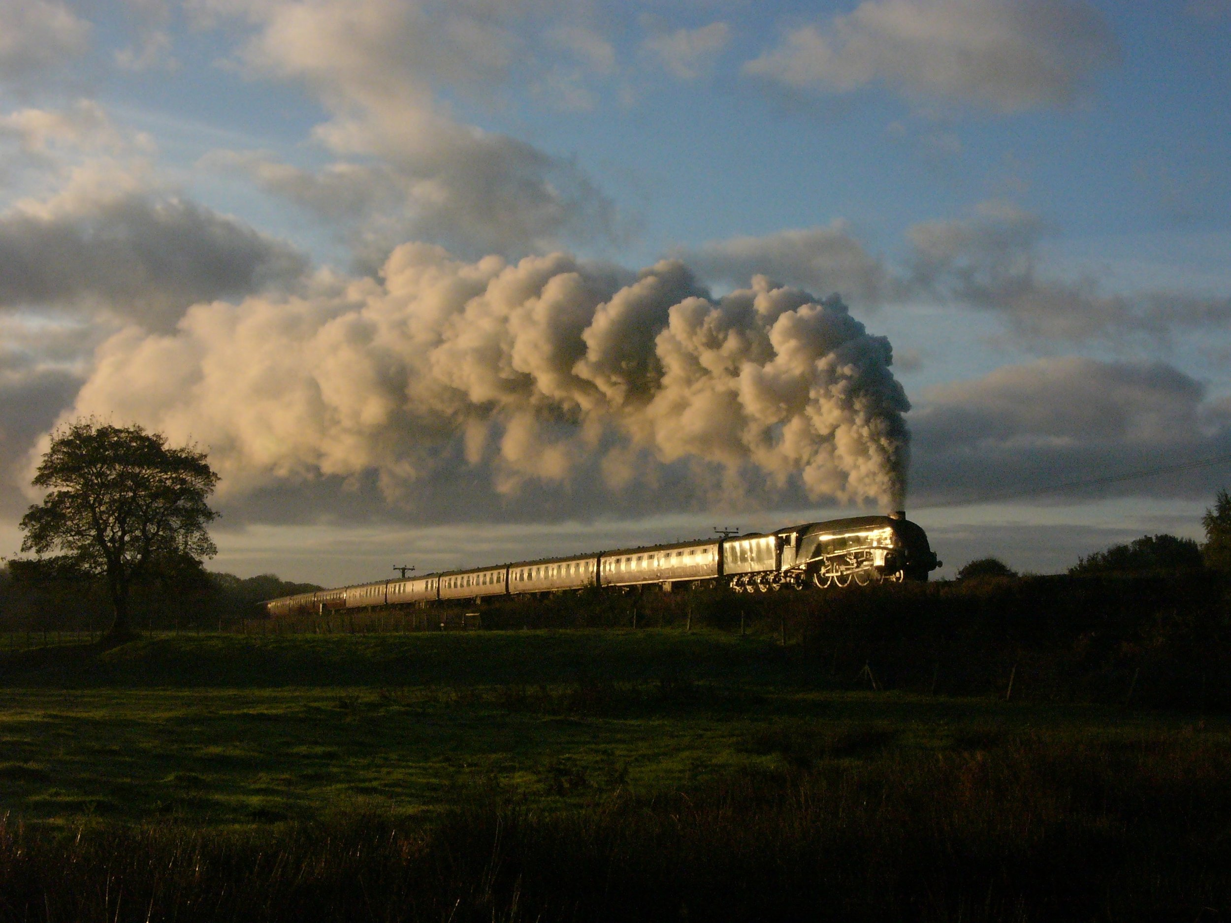 Returning to the East Lancashire Railway this March, 'A4' No. 60009  Union of South Africa  powers past Burrs on October 18 2017 during a 3P20 photo charter. TOBY JENNINGS/SR