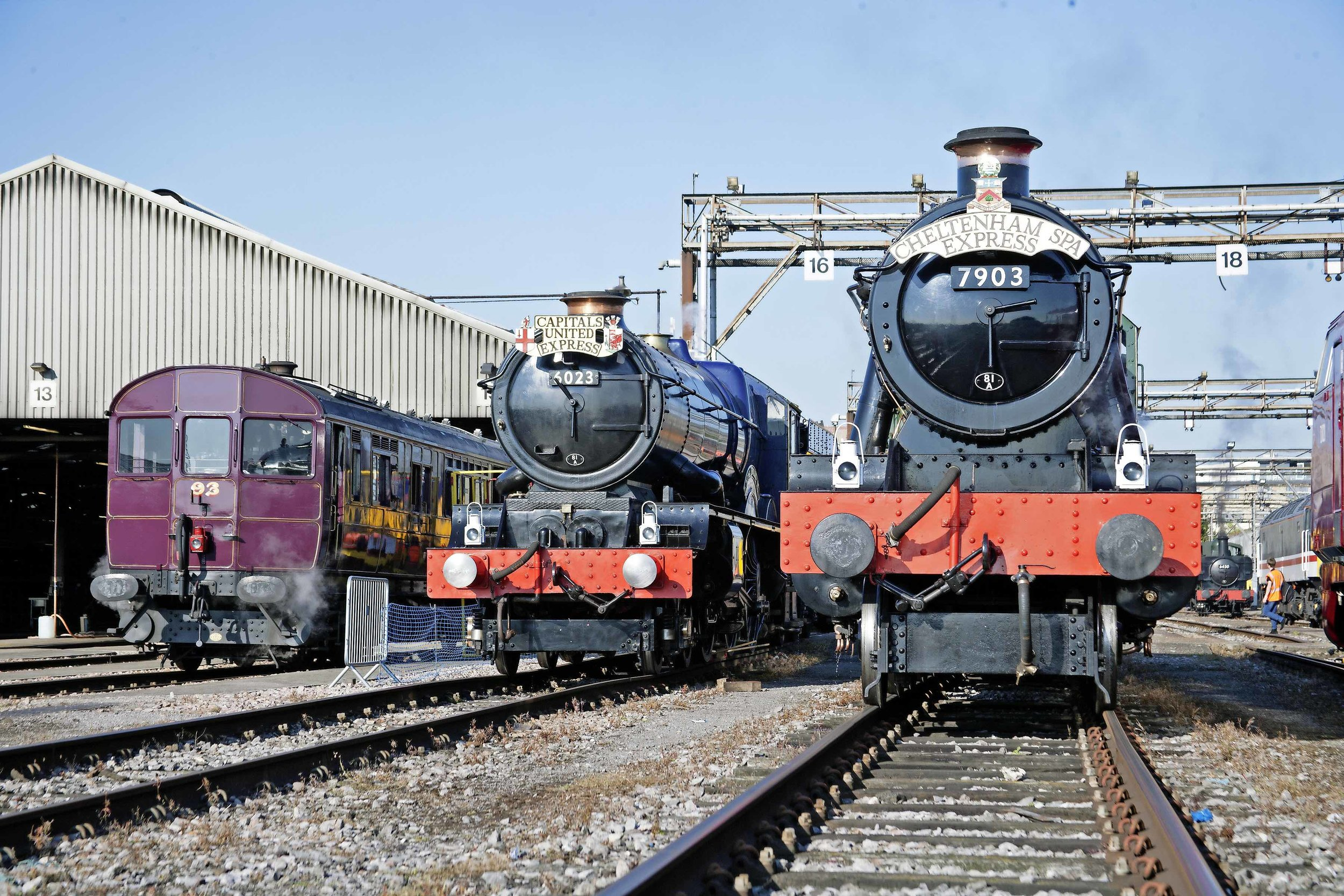 Soon to be reunited at the Gloucestershire Warwickshire Railway's 'Cotswold Festival of Steam', 'King' No. 6023  King Edward II  stands alongside 'Modified Hall' No. 7903  Foremarke Hall  and Churchward Railmotor No. 93 at the Old Oak Common open day on September 2. NICK BRODRICK/SR