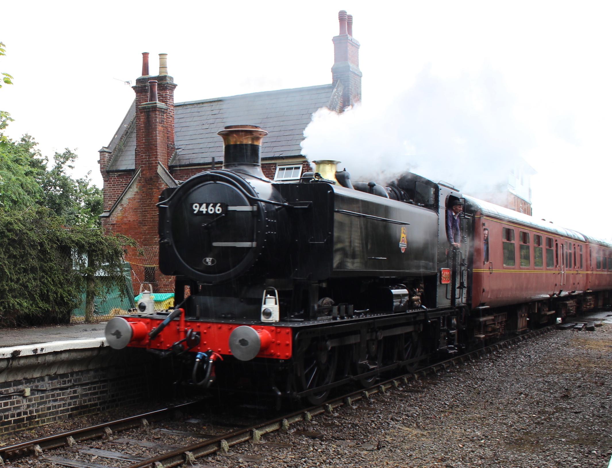 BR black '94XX' No. 9466 pulls into Yaxham station on the Mid-Norfolk Railway at the line's steam gala on June 25 2016. THOMAS BRIGHT/SR
