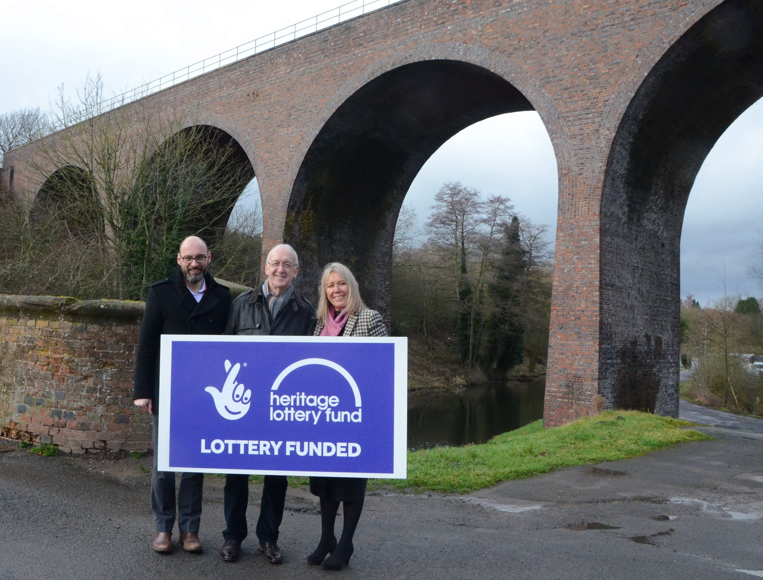 Nick Ralls, Nick Paul and Shelagh Paterson of the Severn Valley Railway at Falling Sands Viaduct. SVR