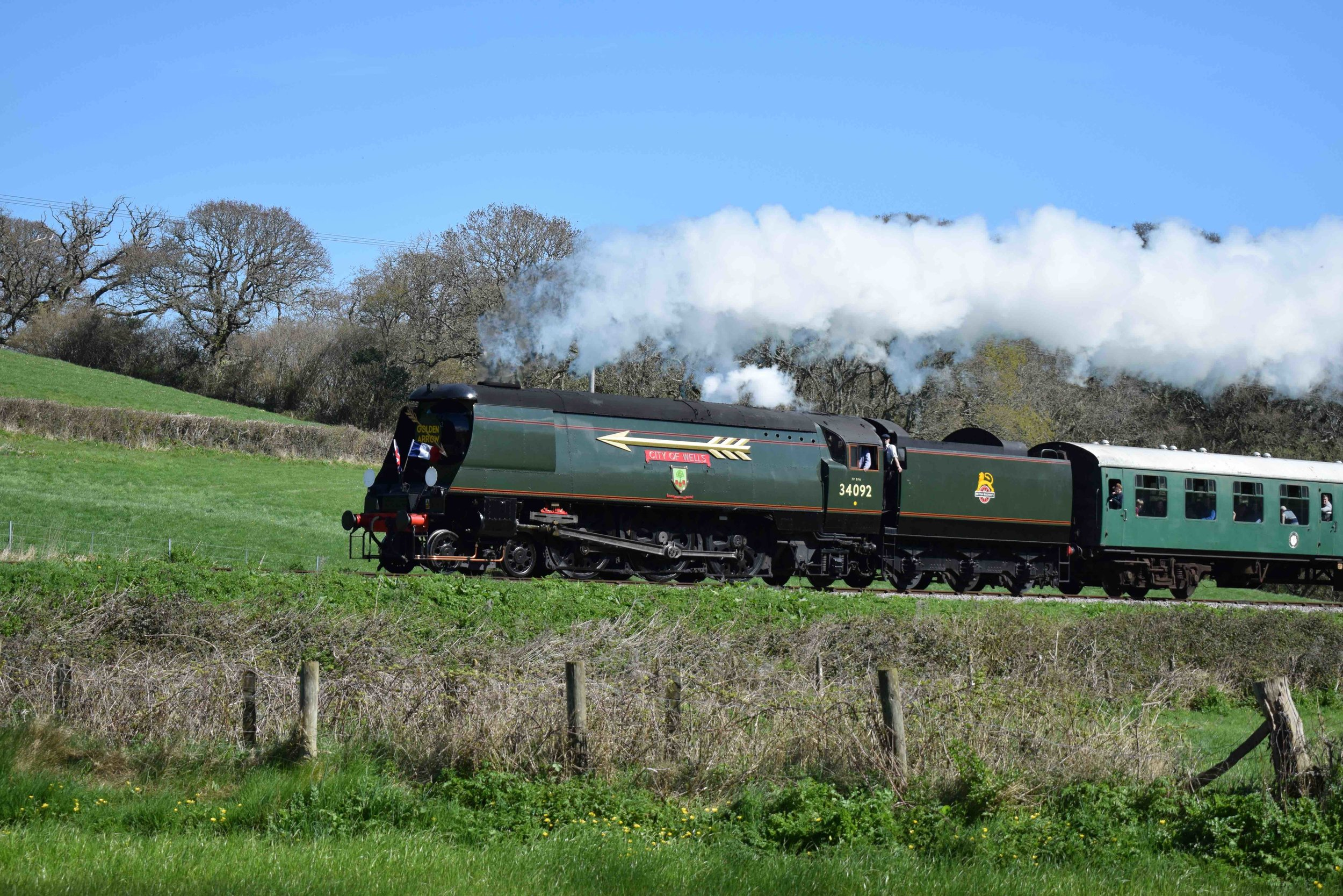 'West Country' No. 34092  City of Wells  climbs towards Harmans Cross at the Swanage Railway's 'Strictly Bulleid' gala on April 2 2017. THOMAS BRIGHT/SR