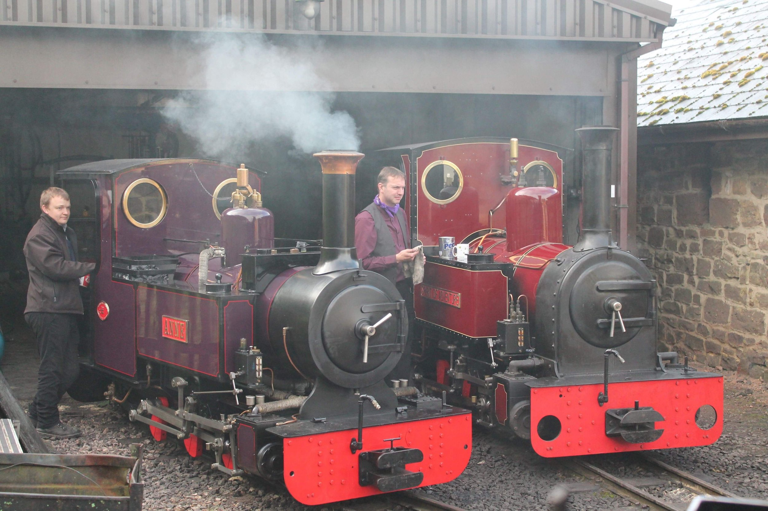 Anne  and  Spirit of Adventure  – two of the locomotives set to visit the Kirklees Light Railway's Steam & Diesel gala in September – are prepared for duty outside the Perrygrove Railway's engine shed.MEGAN CHARMAN