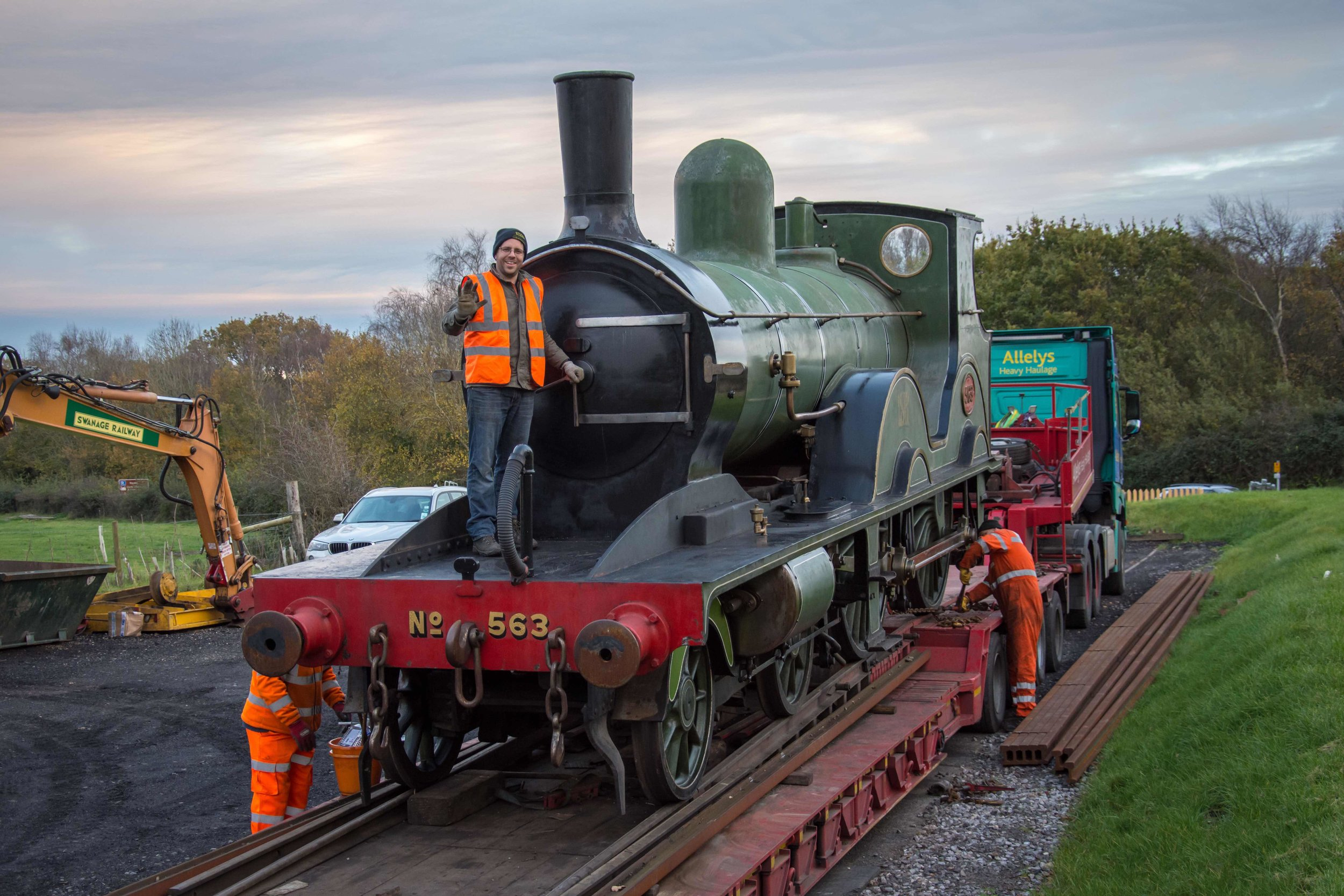 LSWR 'T3' No. 563 is winched onto a low-loader on November 13 2017, in readiness for its move to the Flour Mill in the Forest of Dean, where its return to work order will take place following the Swanage Railway Trust's decision to launch a £350,000 appeal to restore the locomotive. NATHAN AU