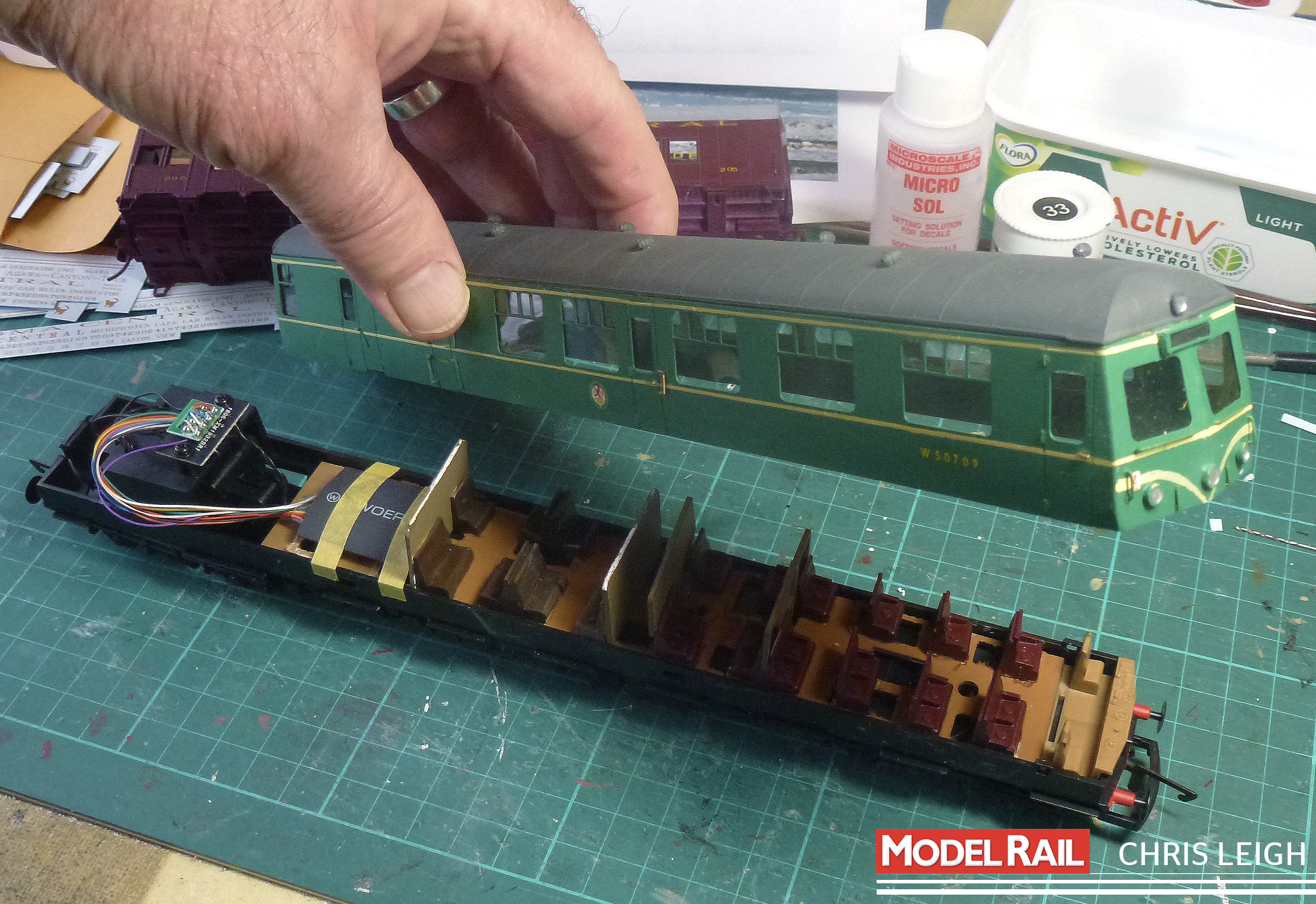 Chris replaces the old Lima chassis of his Craftsman Models '120' with the chassis of a Hornby Class 121. CHRIS LEIGH