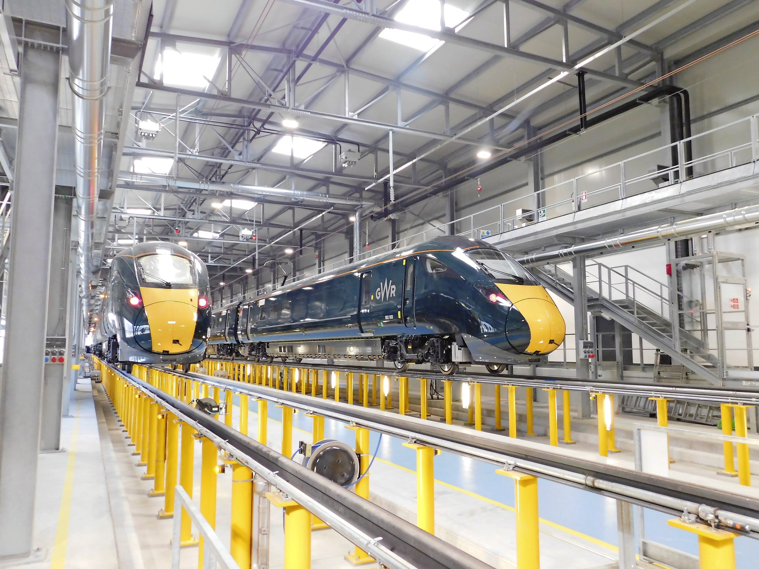 New Class 802 units 802003/4 are nearly ready to leave the factory in Pistoia, Italy, to join their sister Class 800s with GWR. Richard Clinnick/RAIL