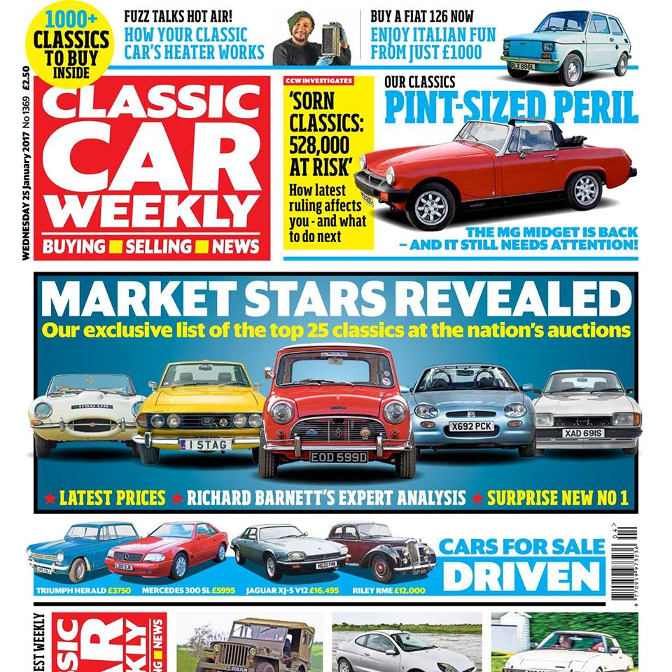 The latest issue of  Classic Car Weekly  is out now! Here's what to watch out for:  The stars of the classic car market revealed - our exclusive rundown of the top  25 performers  at the nation's auctions, latest prices, and Richard Barnett's expert analysis on each   Our Classics - Mike Le Caplain's  MG Midget  is back after a three-year absence (and it still doesn't work!)  Top tips for buying a  Fiat 126  - plus the unlikely celeb who absolutely loves 'em    Mazda RX-7  driven - why we reckon it's a bargain 1980s driving hit   £500 Challenge - our  Ford Puma  races the Tube across Central London. Find out whether our cut-price classic can win    Fuzz Townshend  on your classic car's heating system works   How to save a fortune on a  Jeep  by buying it abroad (and why America ISN'T the best place to look)   PLUS all the latest classic car news, four more cars for sale (including a very tempting  Riley RME ), auction updates and hundreds of cars in our classifieds looking for new owners - don't miss out on your CCW!