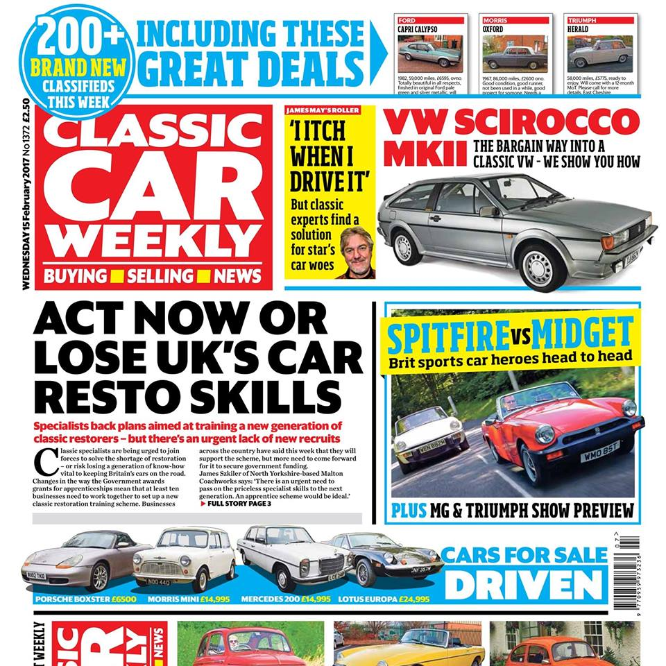 The latest issue of Classic Car Weekly is out first thing tomorrow! Here's what to look forward to:    MG Midget 1500  vs  Triumph Spitfire 1500  - same engine, but which is the best sports car bargain?   Why there's an  urgent  need for a new generation of  classic car restorers  - and what the UK's specialists are doing about it   How  Rolls-Royce  experts reckon they can help Grand Tour star James May with an unusual problem he has with one of his classics   Delivery-mileage  MGB  for sale! Full story of an incredible  78-mile  classic that you can buy Buy the very last registered Triumph TR6 - we show you how    Volkswagen Scirocco MkII  - how to pick one up for less than you think Fiat 500 - how to perfect yours on a budget    Our Classics  - Volkswagen Beetle heads for the beach in a massive VW convoy, plus the latest on our Fiat Panda, and there's a new arrival on the fleet   PLUS four more classic cars for sale tested, the latest news, auction updates and more than 200 BRAND NEW CLASSIFIEDS in this week's paper - make sure you don't miss out on the best deals!