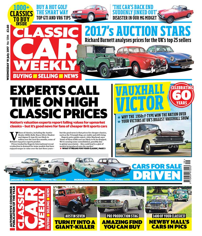 Here's what to look out for in tomorrow's issue of Classic Car Weekly:  Why values for some of the nation's upmarket classics are softening - and the models that are bucking the trend  Britain's best-selling 25 classics at auction - Richard Barnett's full analysis on what you've been buying since the start of the year  60 years of the Vauxhall Victor - we discover why the F-type is such a compelling classic, and look at the best Victors owned by Vauxhall devotees from across the UK  Pre-production Triumph Stag comes up for auction - will it break a price record for the model?  How to buy a hot Golf the smart way! Don't miss our buying tips on the MkIII GTI and VR6  Pictures of the best cars from the Newby Hall and Glamis Castle classic shows  Top tweaks to turn the Austin Seven into a giant-killer  Our Classics - the latest on our Alfa Romeo 145, MG Midget and Rover 200 BRM  PLUS the latest news, auction updates, some Morris Minor overload in The Way We Were, four more cars for sale tested - included what we reckon could be Britain's best Triumph TR3 - and hundreds of cars just waiting to be snapped up in our classifieds pages.