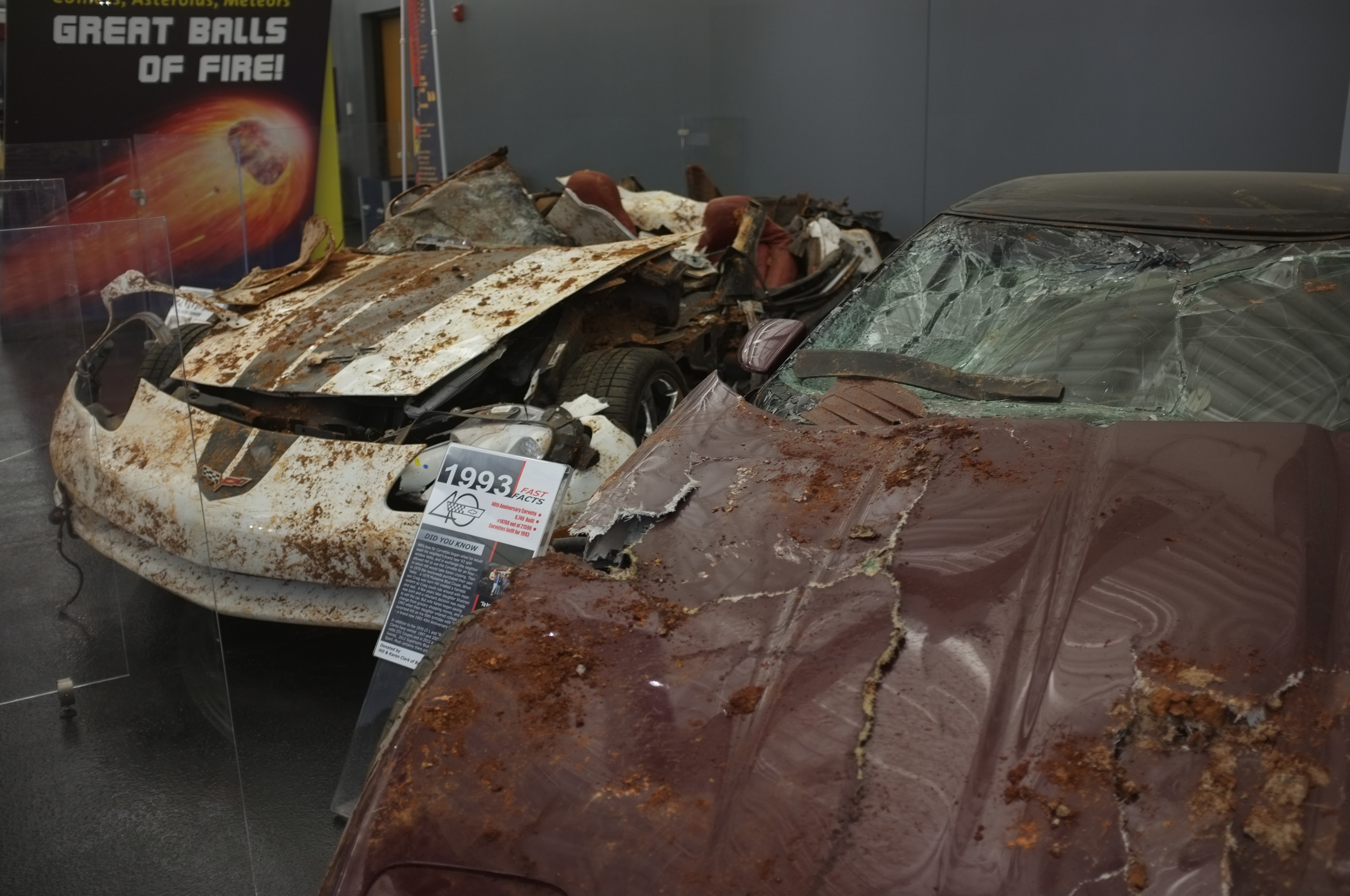 Wreck 'n' roll: two of the six Corvettes retrieved from the sinkhole disaster.