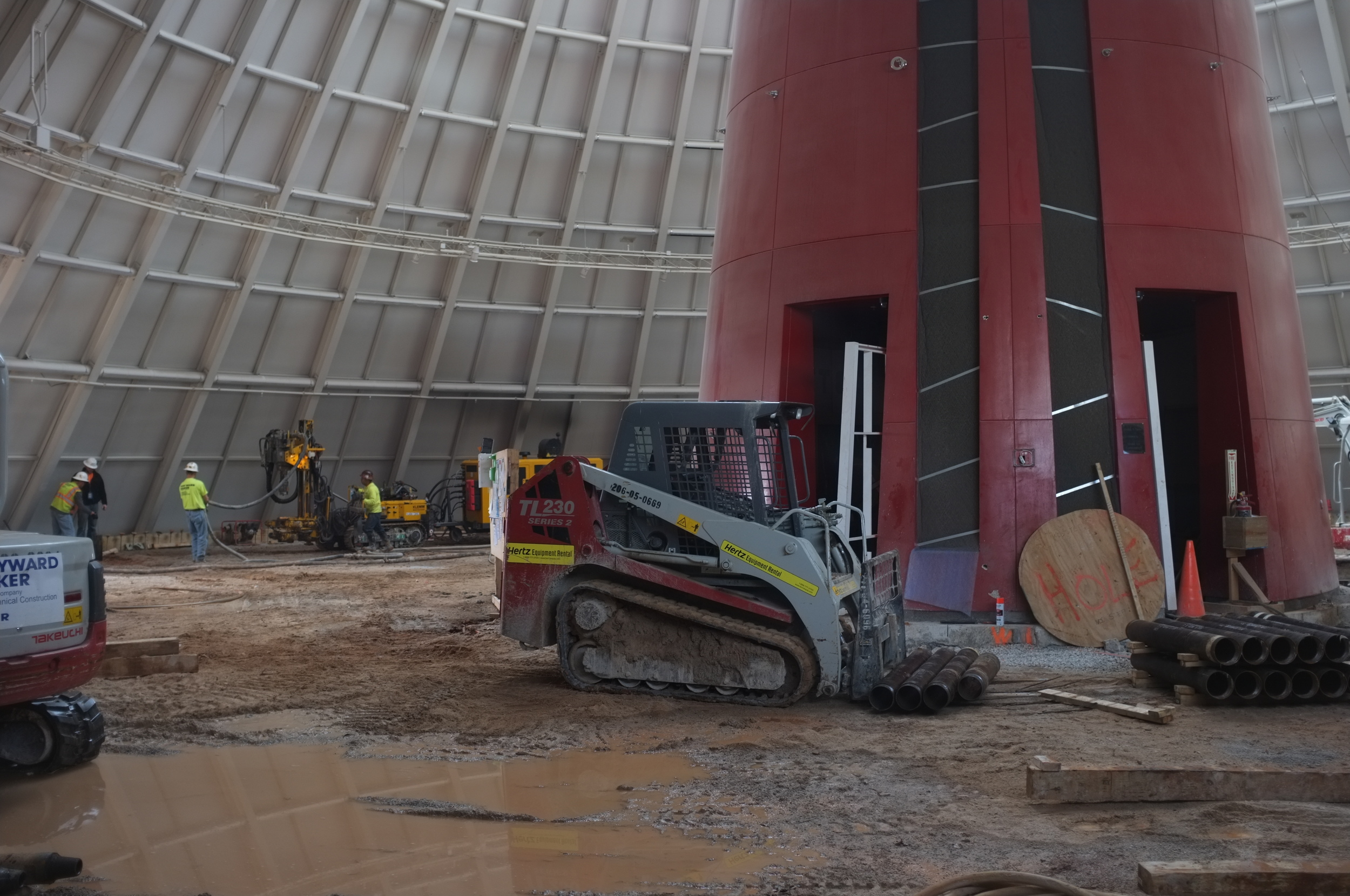 Beyond the Skydome: engineers work to shore up the sinkhole beneath the museum.