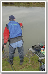 3. With the line straightened, reel in the excess and continue on your 'trot'