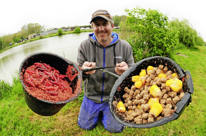 'New school' margin tactics  (left) - Groundbait (Sonubaits Krill in this case) should be mixed the night before so it is well saturated and sinks to the deck to create a carpet of feed. Add a sprinkle of hookbaits, dead maggots for example   Traditional margin tactics  (right) - 'Old school' particles, such as sweetcorn and 4mm-6mm pellets remain effective but need to be fed more cautiously because of their high food content. There's enough here for half a session margins