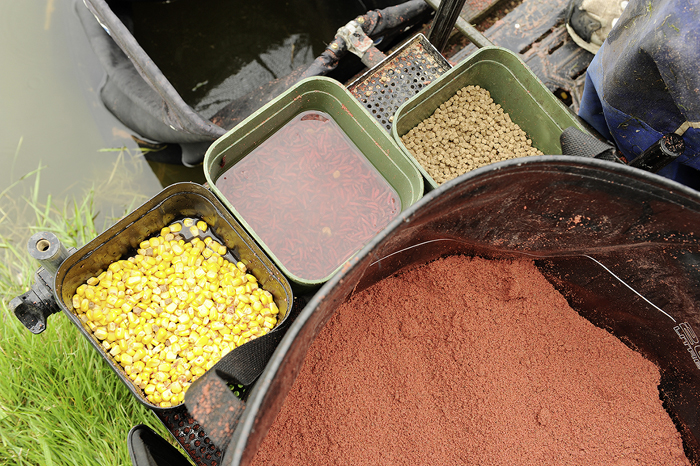 No surprises on the bait tray! Sweetcorn, pellets, dead red maggots and groundbait.