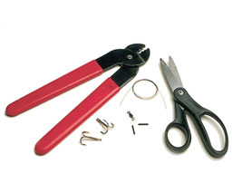 1.  You will need some wire, two treble hooks, a swivel, some crimps, crimping pliers and sharp wire cutters.