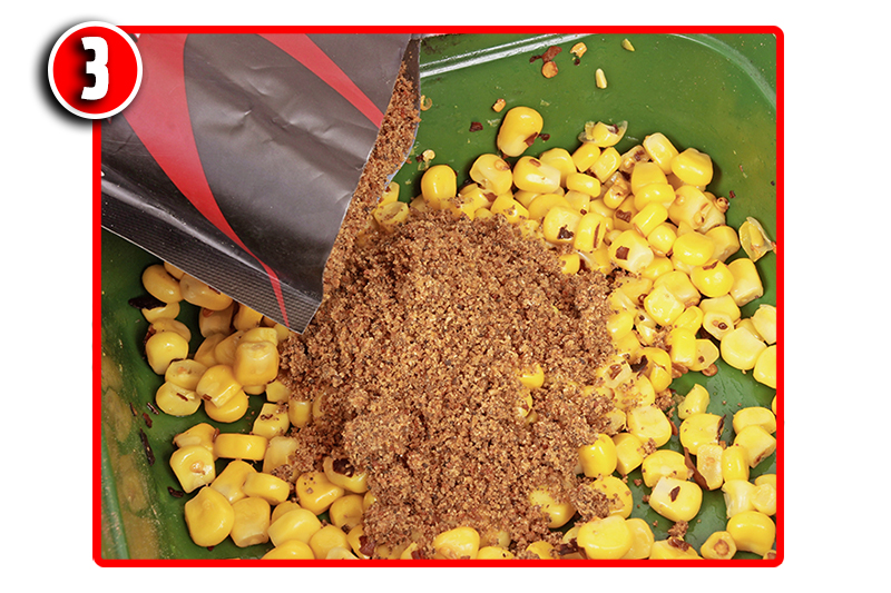 Add a handful of TG Active Stick Mix to the spicy sweetcorn. This will enable you to compact the PVA sticks that bit better.