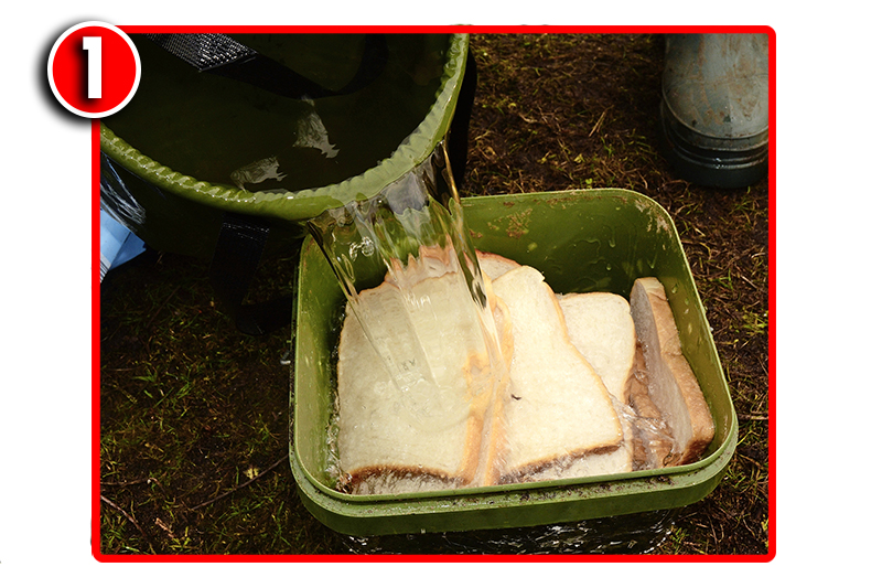 Start by putting a whole loaf of fresh, sliced white bread in a bucket, and add water