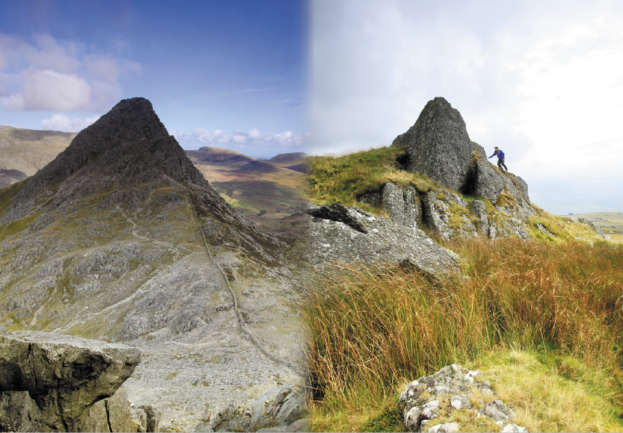 Snowdonia's Tryfan (left) and nearby Moel Tryfan (right.) But what's in a name?  Photos : Tom Bailey © Trail Magazine