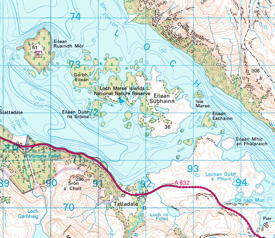 Loch Maree.  Image  Ordnance Survey © Crown Copyright