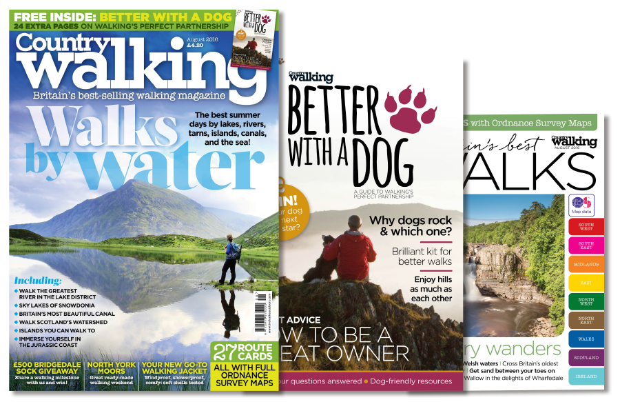 The new August issue of Country Walking – out Thursday 21 July – comes complete with FREE dog walking supplement and 27 route cards of Britain's best walks.