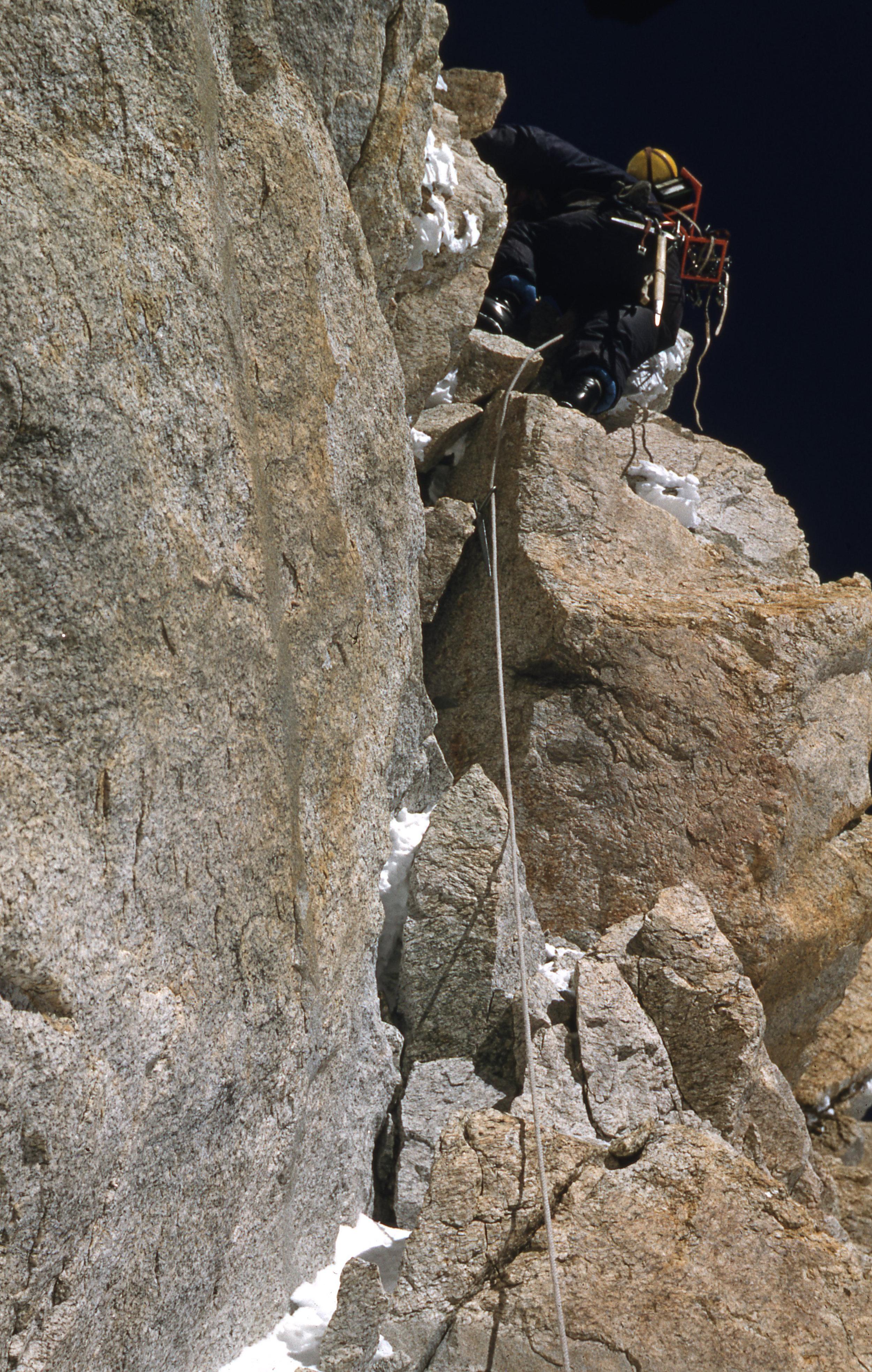 Joe Brown on Kangchenjunga's crack, 1955.  Photo : Royal Geographical Society