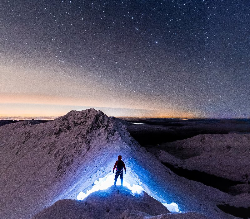 Chosen unanimously as the winning image by the public and the judging panel,  Gareth Owen  placed himself in the frame on Snowdon's Crib Goch at night.
