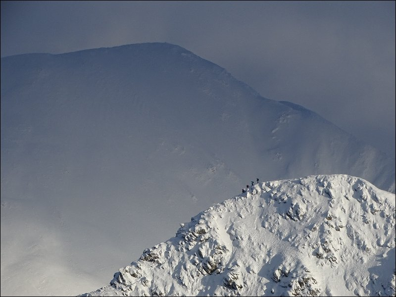 Michael Eyton  had to work quickly to capture this image of climbers on Stob Ban.