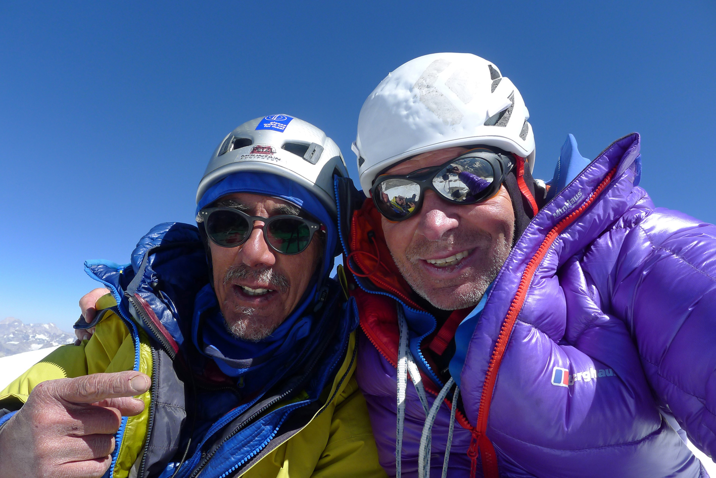 Sersank summit selfie in 2016 by Vic Saunders (left) and Mick Fowler.