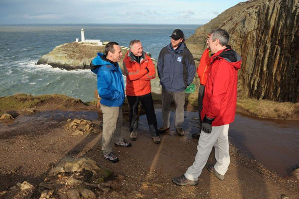 The BMC meeting John Griffiths, Welsh Government minister for culture and sport at Anglesey's South Stack in 2014. Photo: Ray Wood.