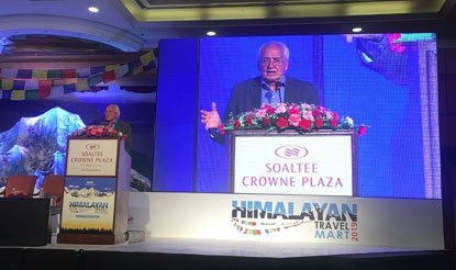 Doug Scott delivering his 'Lure of the Himalaya' speech in Kathmandu on 6 June 2019. Photo © Claire Souch